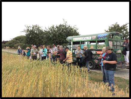 Richard and WSU/Mt. Vernon Agronomist Steve Lyon leading heritage grains field trip tour; Mt. Vernon, Washington (August 2017)