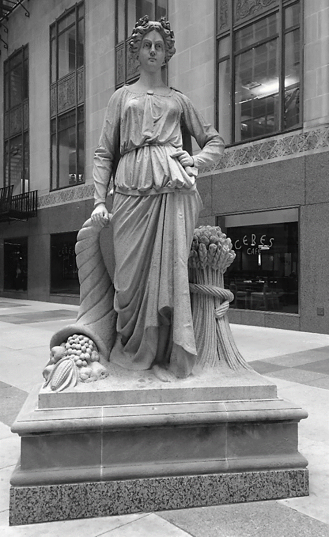 Left:  Agriculture—Ceres  (1885); Chicago Board of Trade Building