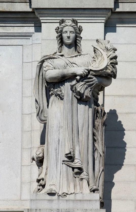 Right: Louis St. Gaudens,  Ceres  (c. 1914), Union Station, Washington, D. C.