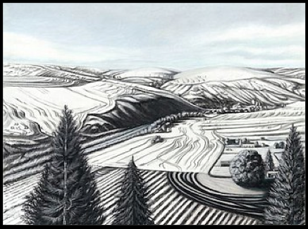 Katherine Nelson,  Palouse Colony Farm  (charcoal on wove paper, 2017)
