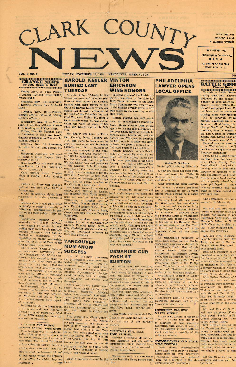 """Clark County News  article, """"Philadelphia Lawyer Opens Local Office,"""" detailing the establishment of Robinson & Morse—now known as Landerholm, P.S. Published November 12, 1948."""