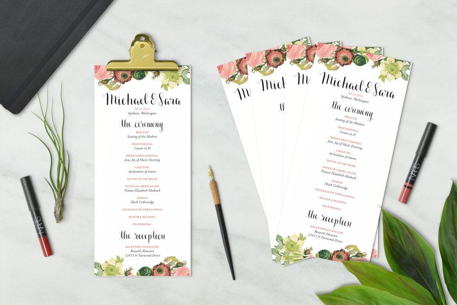 botanical/floral wedding program