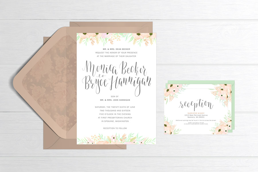 mint and peach hand-calligraphed wedding invitation suite