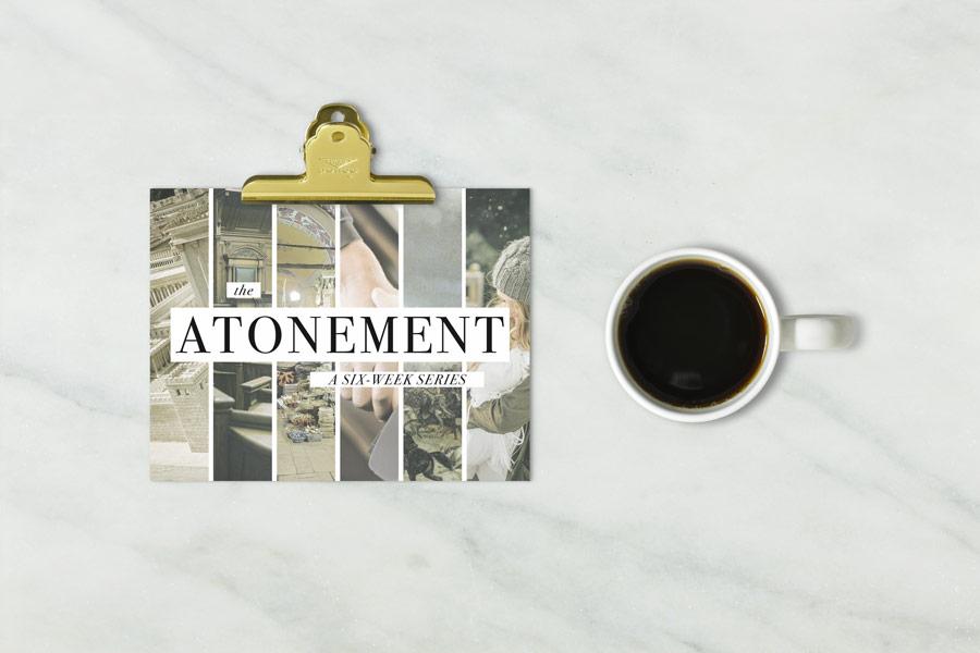 sermon series invitation/flier/postcard, the atonement series, Christian church advertisement, invitation.