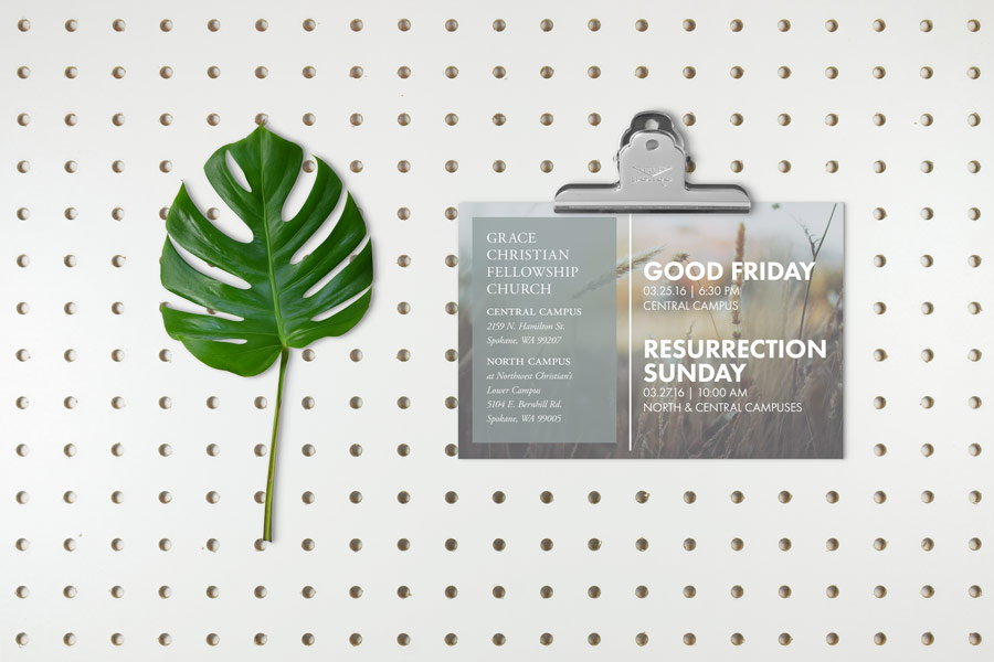 Church fliers and event invitations, Easter and Good Friday invitation and advertisement, graphic design postcard, Christian church