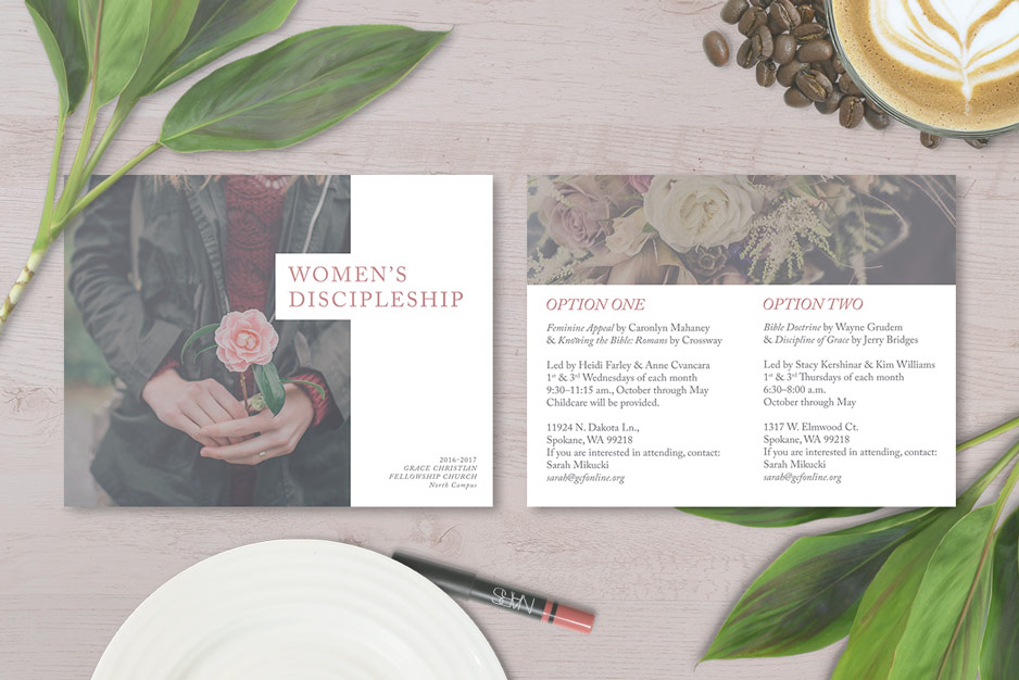 Church fliers and event invitations, women's discipleship, women's Bible study invitation and advertisement, graphic design postcard, Christian church
