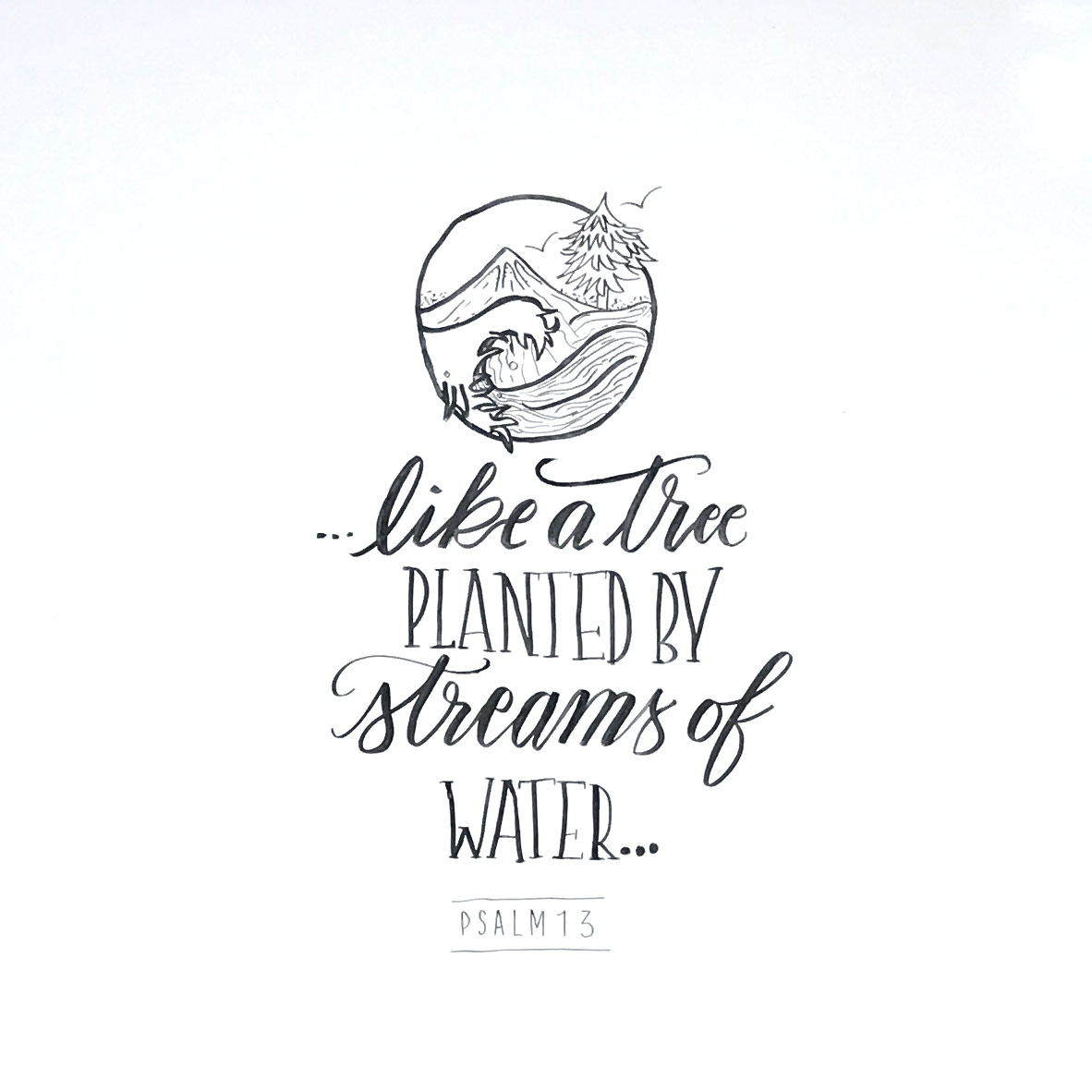 """""""Like a tree, planted by streams of water."""" Psalm 1:3 //This hand-lettered calligraphy whiteboard design was made by Sarah Mikucki of Doorpost Designs for ladies' events at Grace Christian Fellowship Church in Spokane, WA."""
