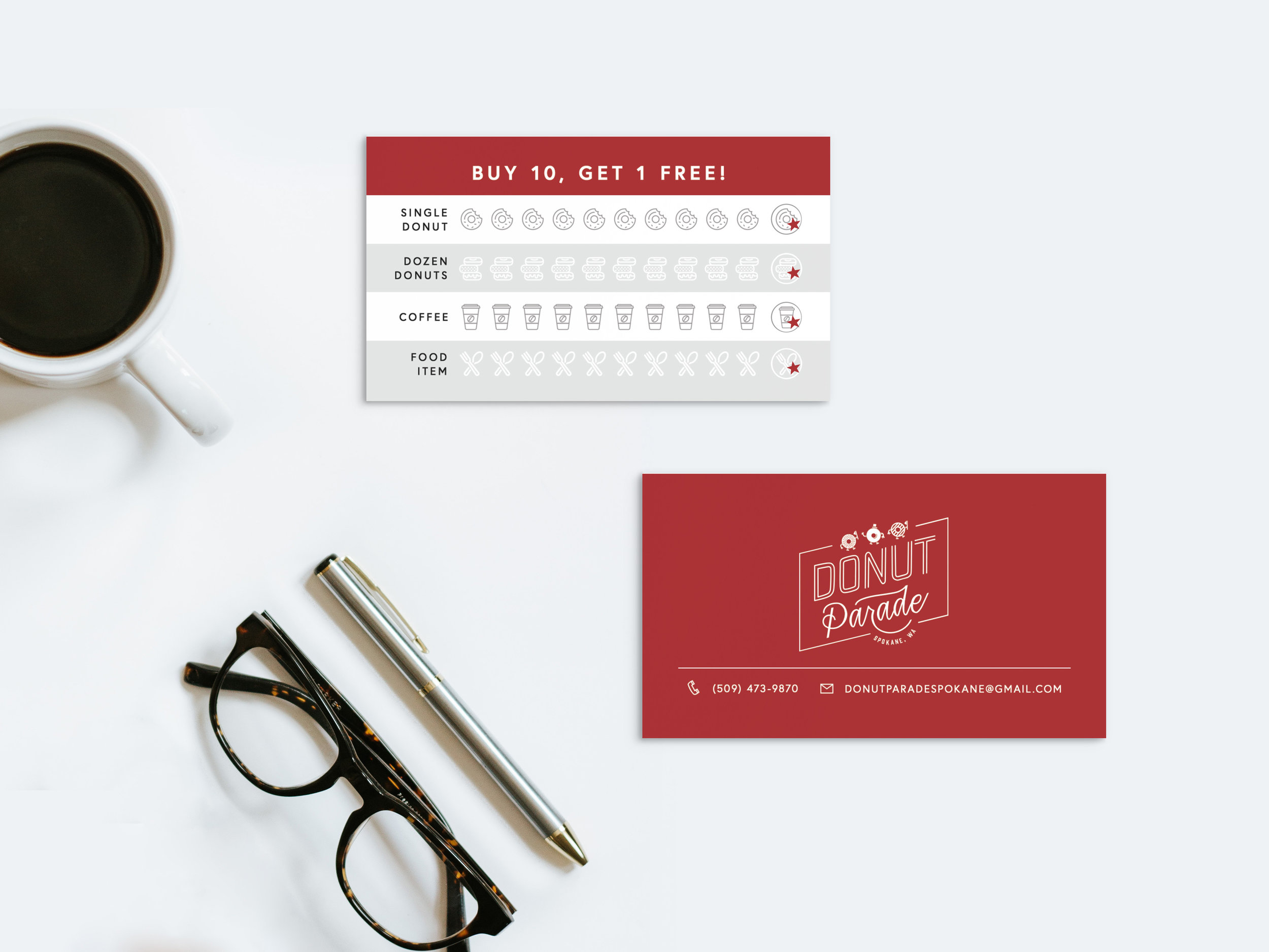 Punch cards (roughly the size of business cards) for Donut Parade—buy ten items, get one free!