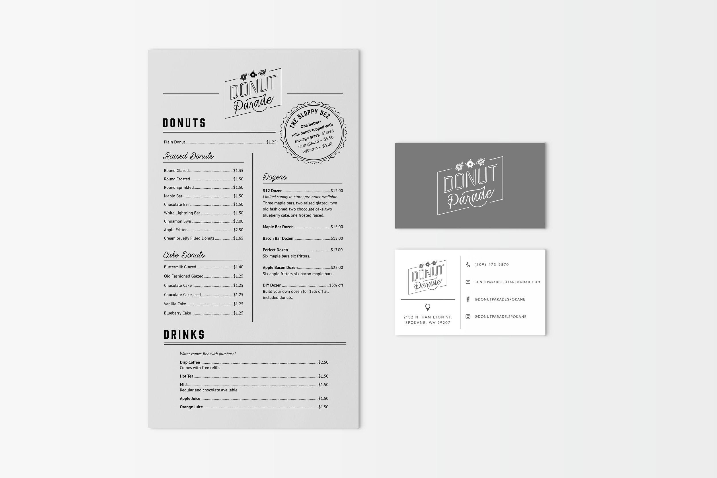 Menus and business cards for Donut Parade, Spokane