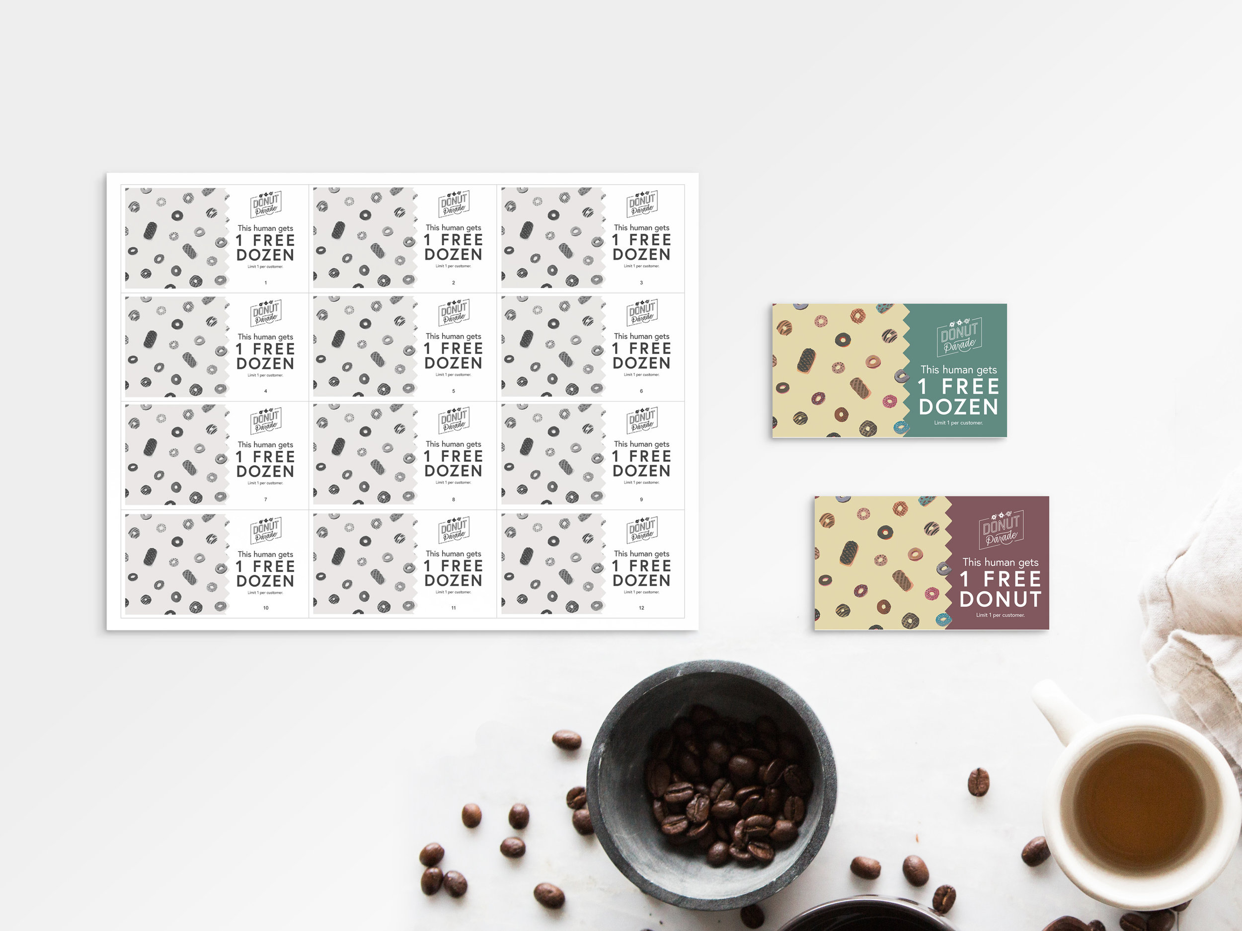Colored donut coupons, plus black and white home-printable versions