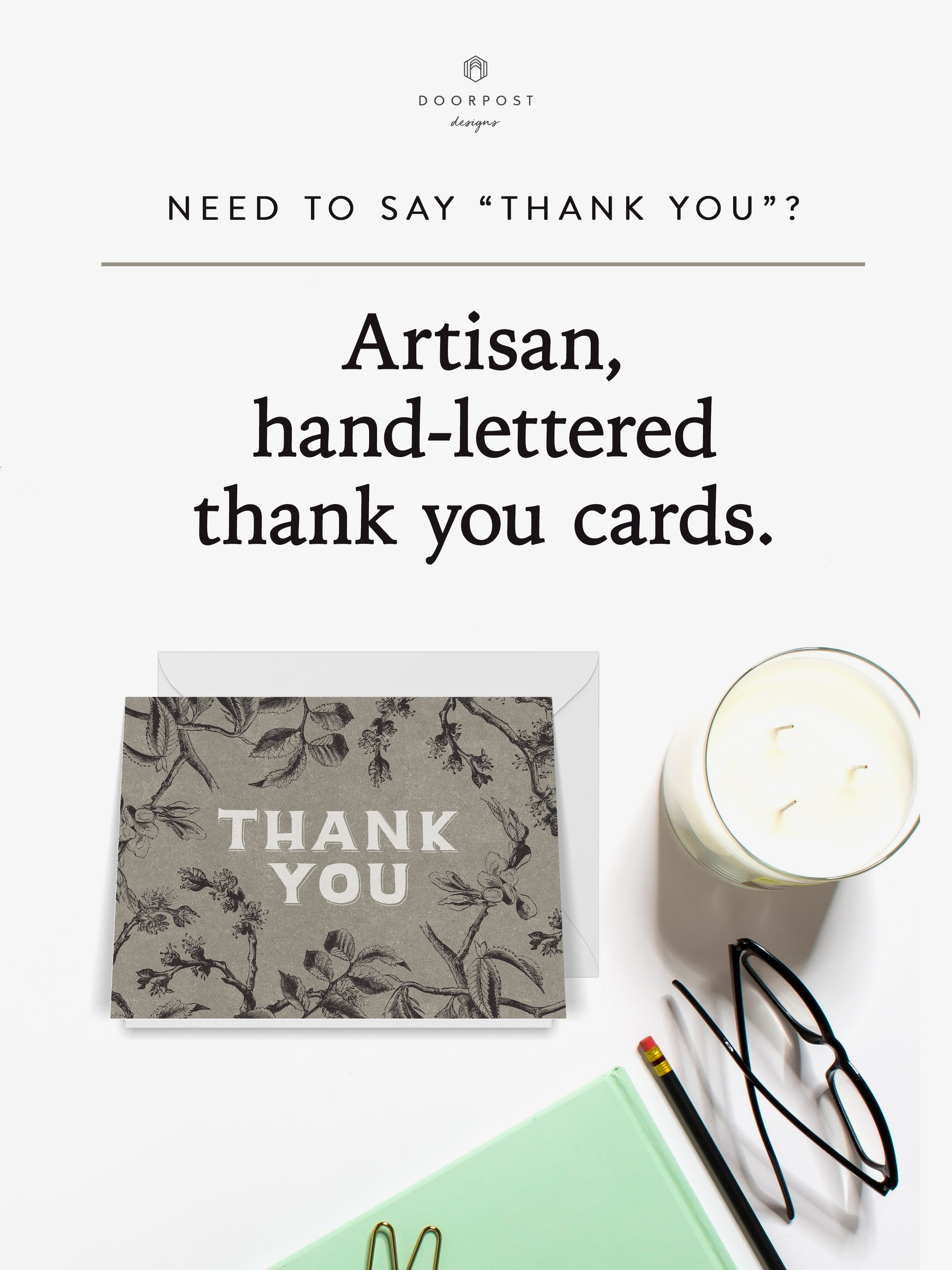 Artisan, hand-lettered thank you cards