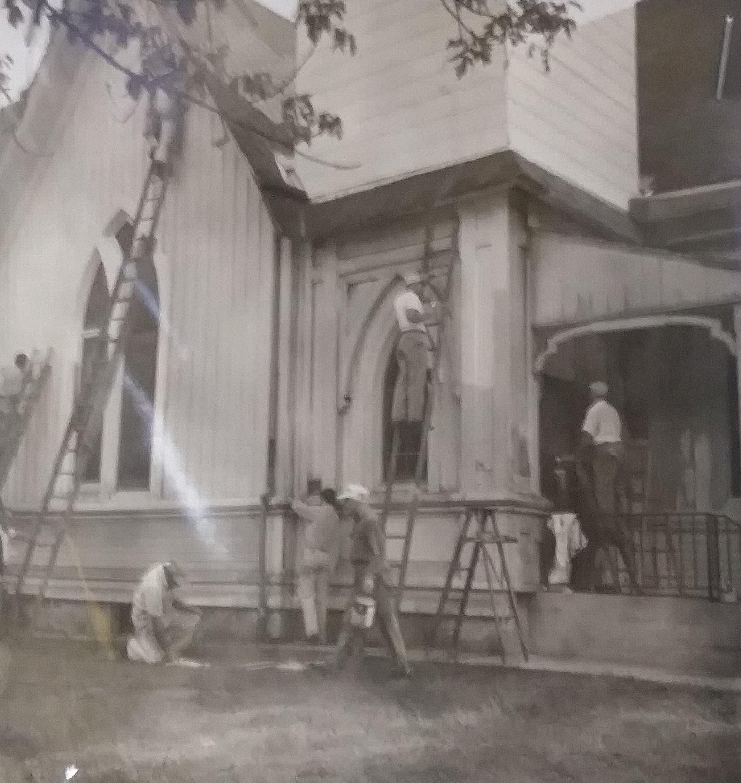 Repair work on the Original Grace Church.