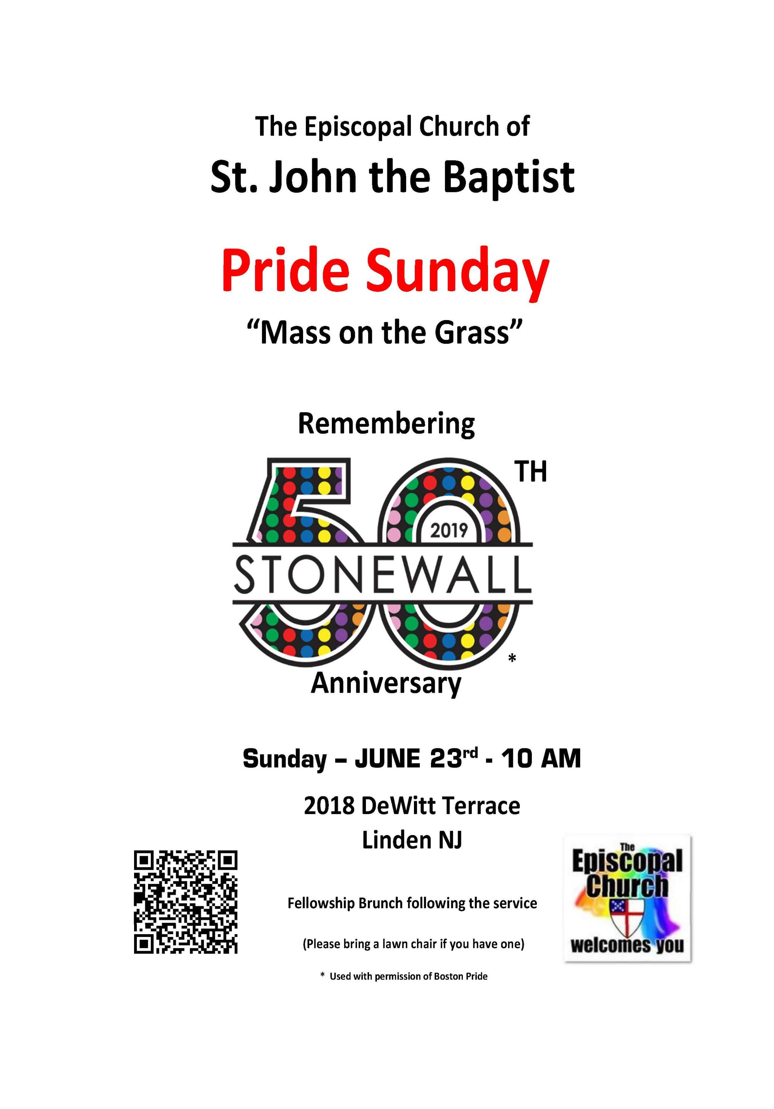 Pride Sunday - 50th Anniversary of Stonewall - 6/23/19