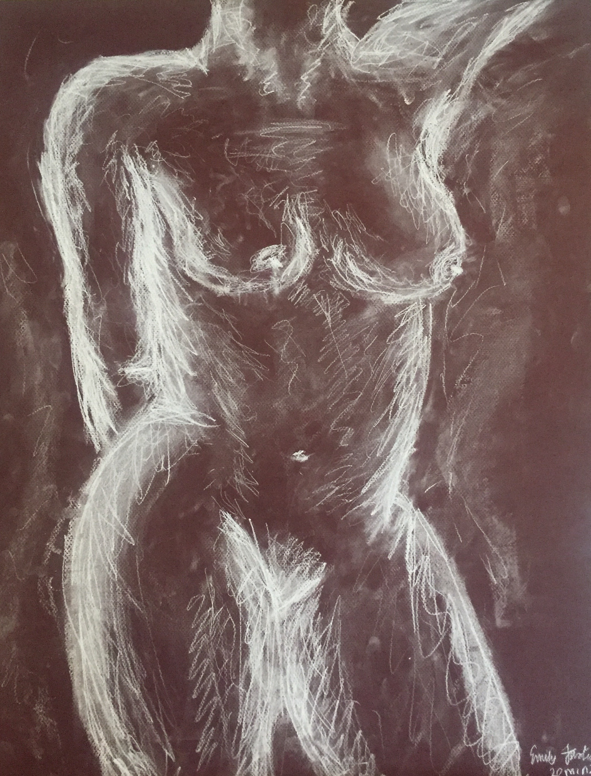 Figure Drawing: 20 Min. white charcoal, soft pastel, and conte crayon