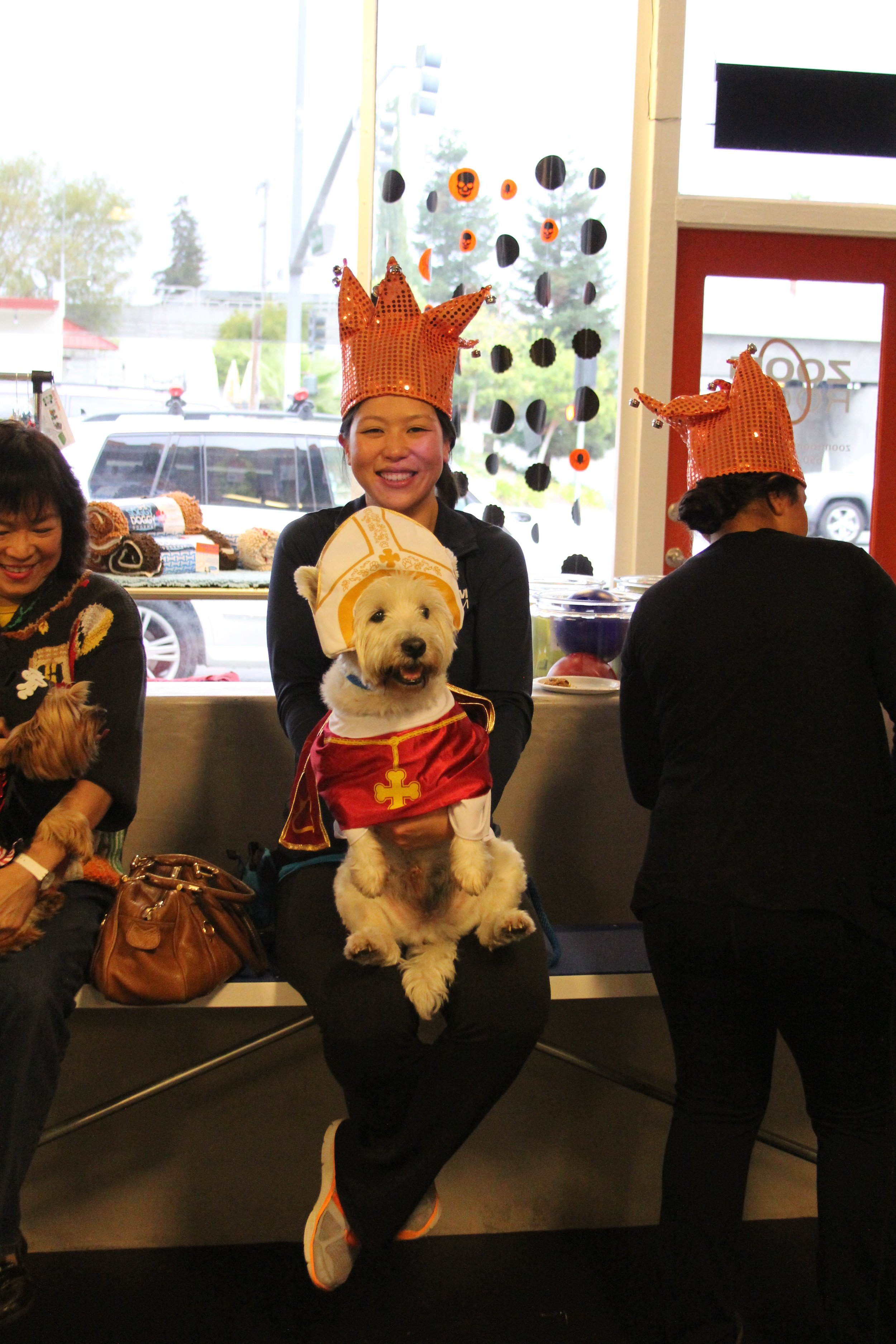 "Don-Don and me, Halloween 2014. He was dressed up as a Pope, ""blessing"" our Howl-o-ween Pawty!"