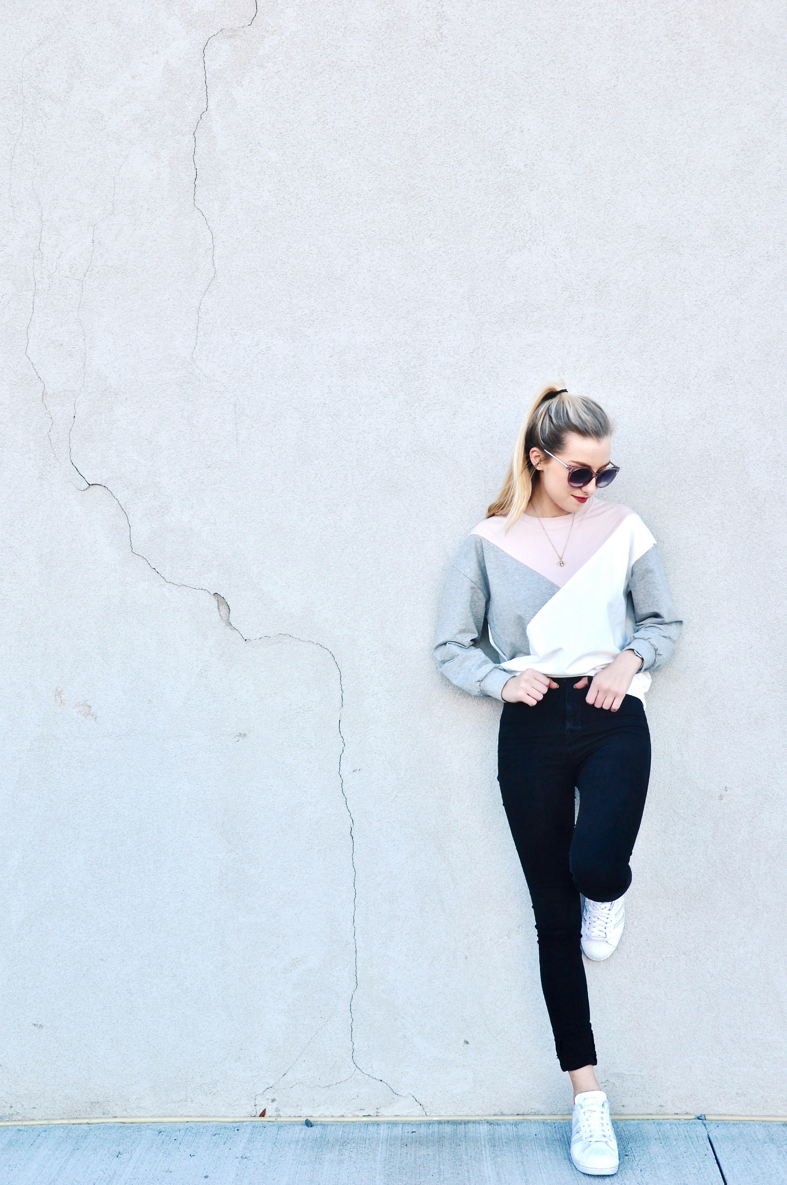 Sweatshirt:  Romwe , Watch: Mockberg,Sunglasses: Ann Taylor, Jeans: BDG Urban Outfitters, Shoes: Adidas Custom Superstars