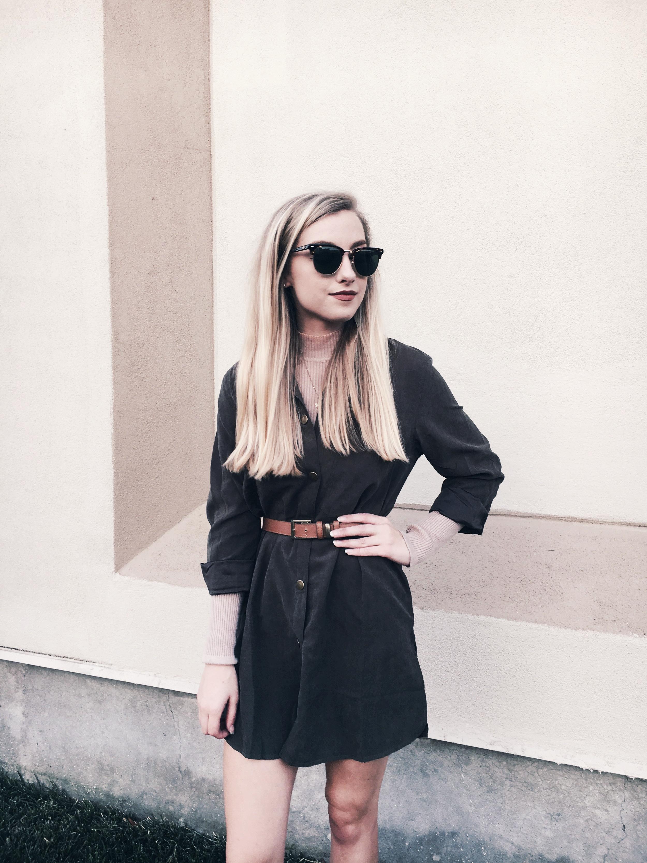 Sunglass: Brightside Eyewear, Turtleneck: Forever21, Dress: Shein, Belt: Forever21, Shoes: Zara