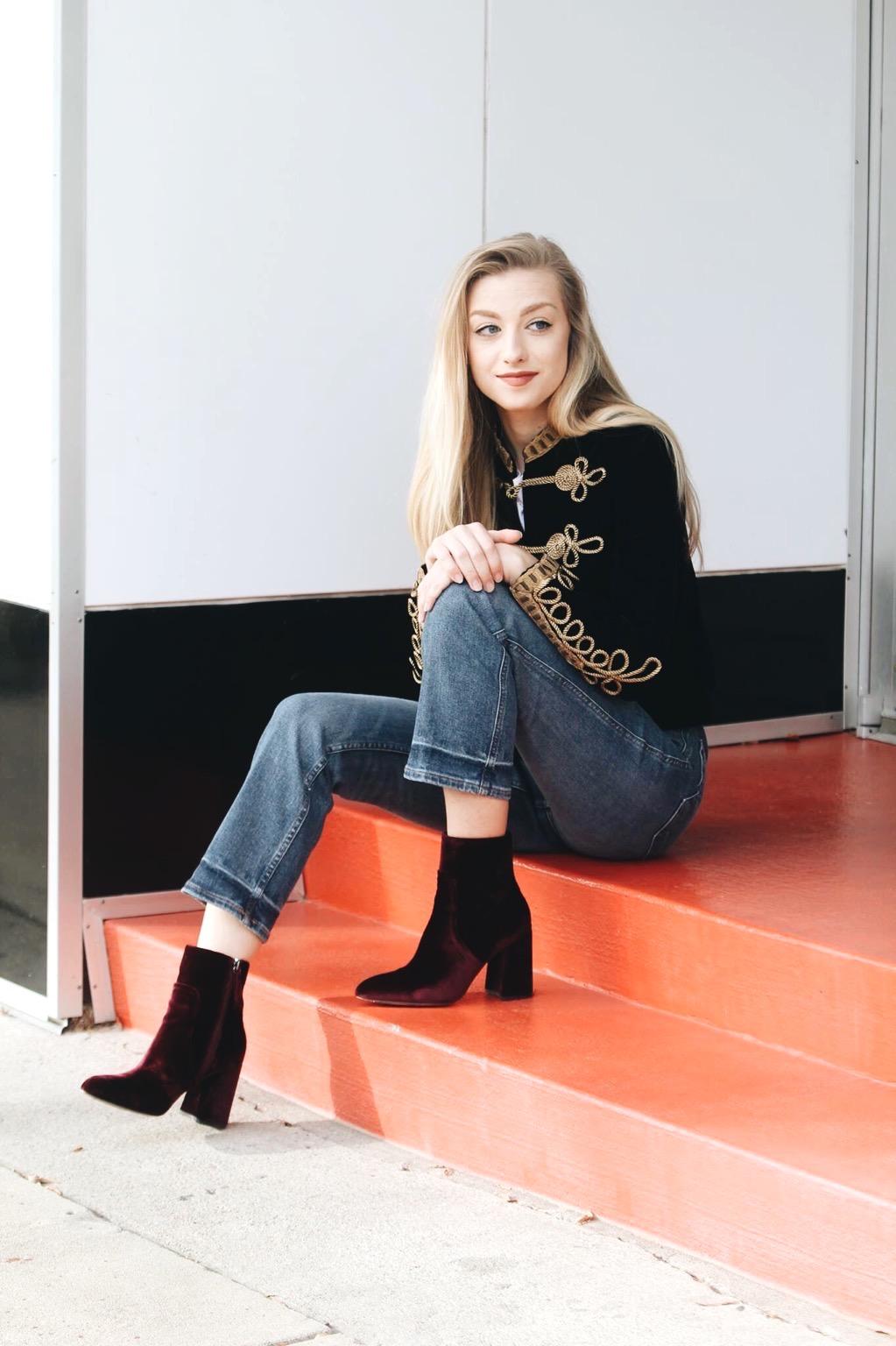 Jacket:  Zara , Tee: H&M, Jeans:  H&M , Boots:  Steve Madden