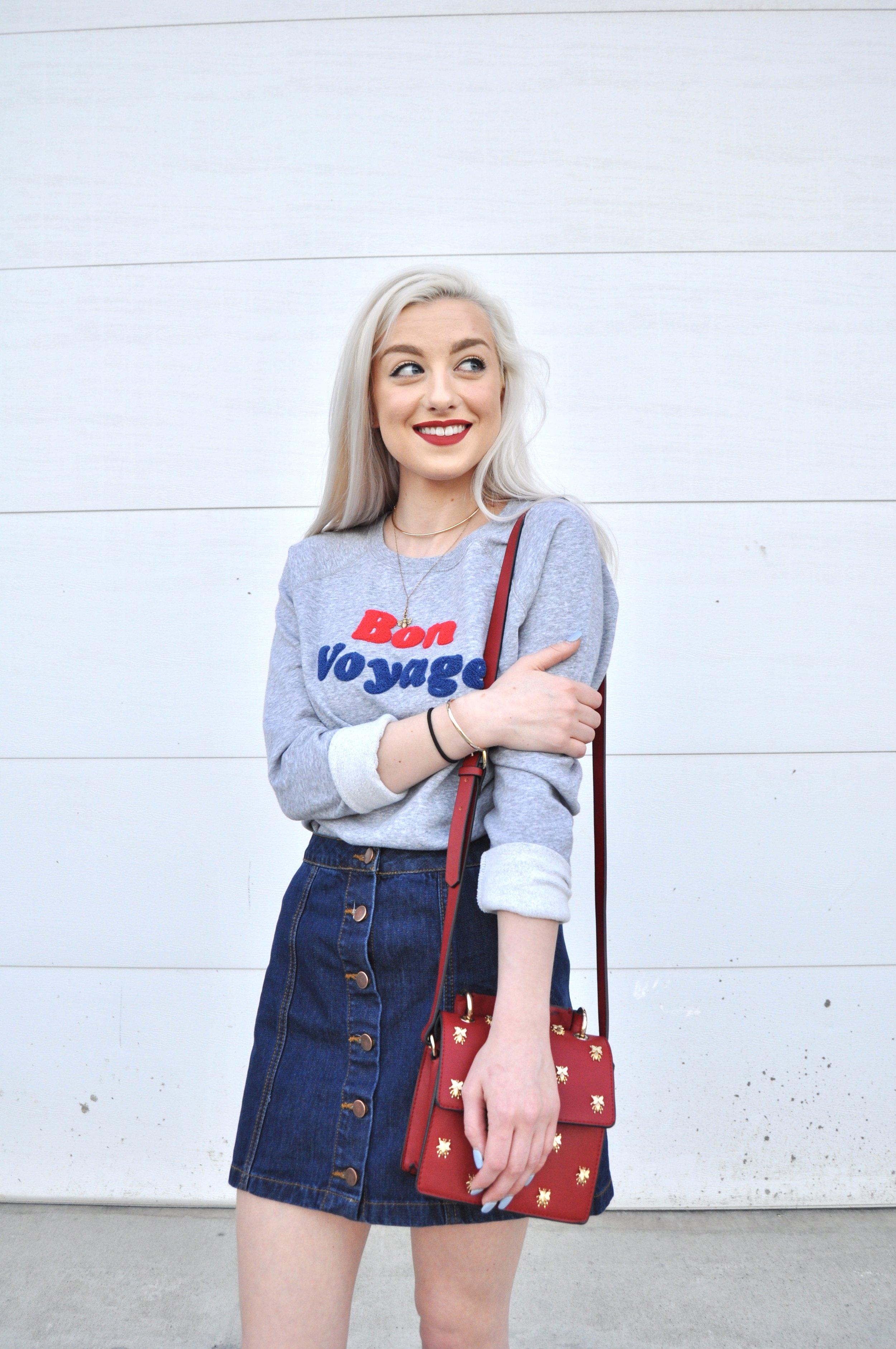 Sweatshirt: Old Navy, Skirt: Forever21, Bag: Zara, Shoes: Steve Madden