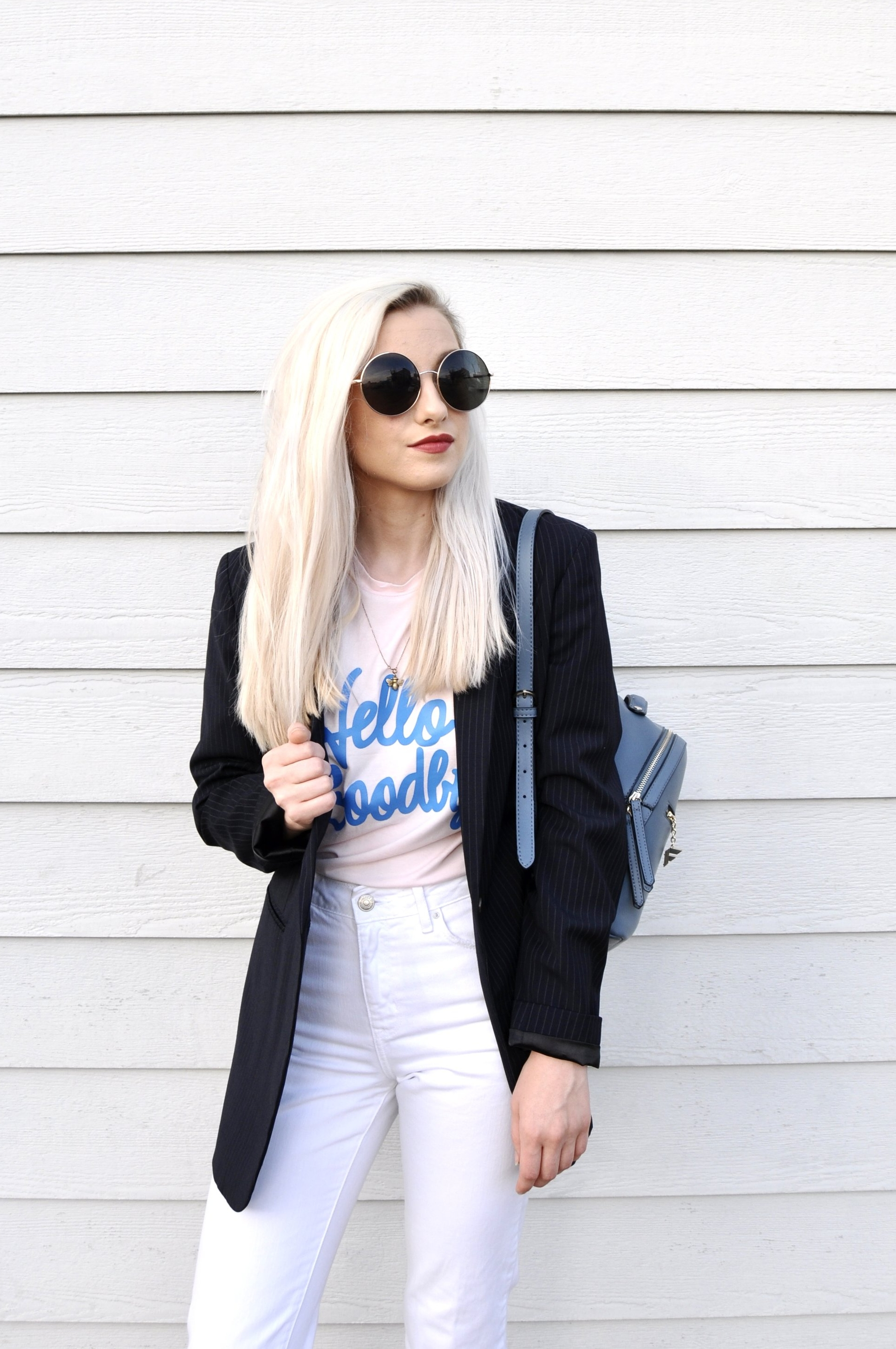 Sunglasses: Forever21, Tshirt: Forever21, Blazer: Baukjen, Jeans: Urban Outfitters, Shoes: Ego Shoes, Backpack: Fiorelli