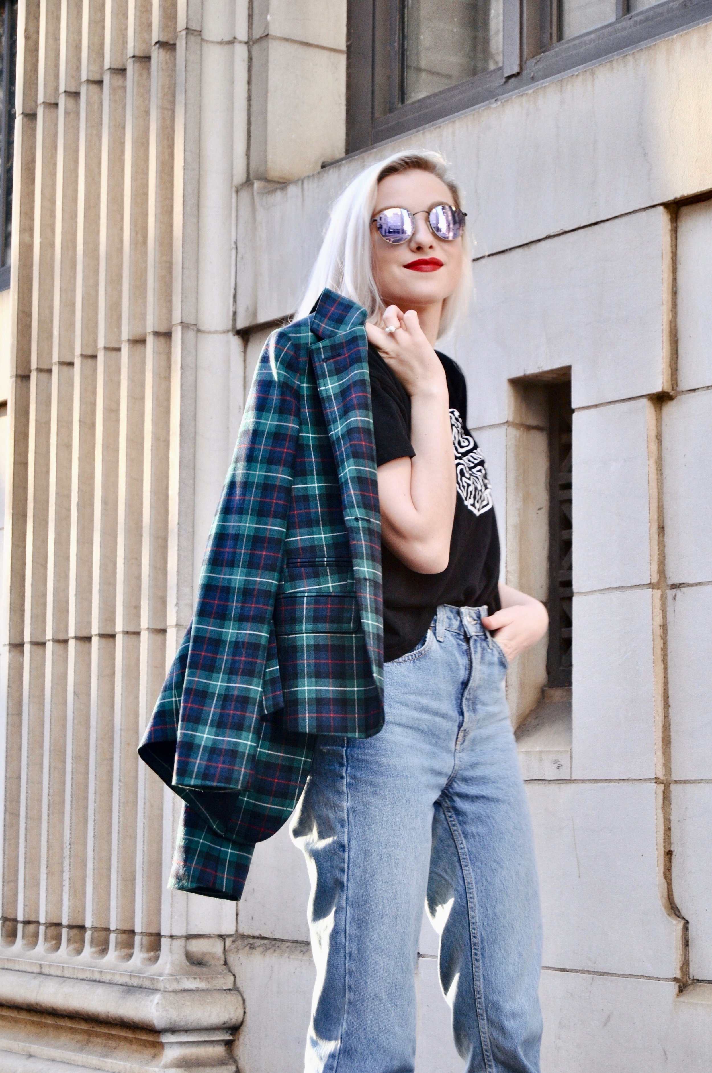 Outfit Details: Top: Pull & Bear, Blazer: J. Crew, Jeans: Topshop, Socks: Topshop, Shoes: Zara, Bag: Gucci, Sunglasses: Ray-Ban, Ring: Minimalist Jewelry