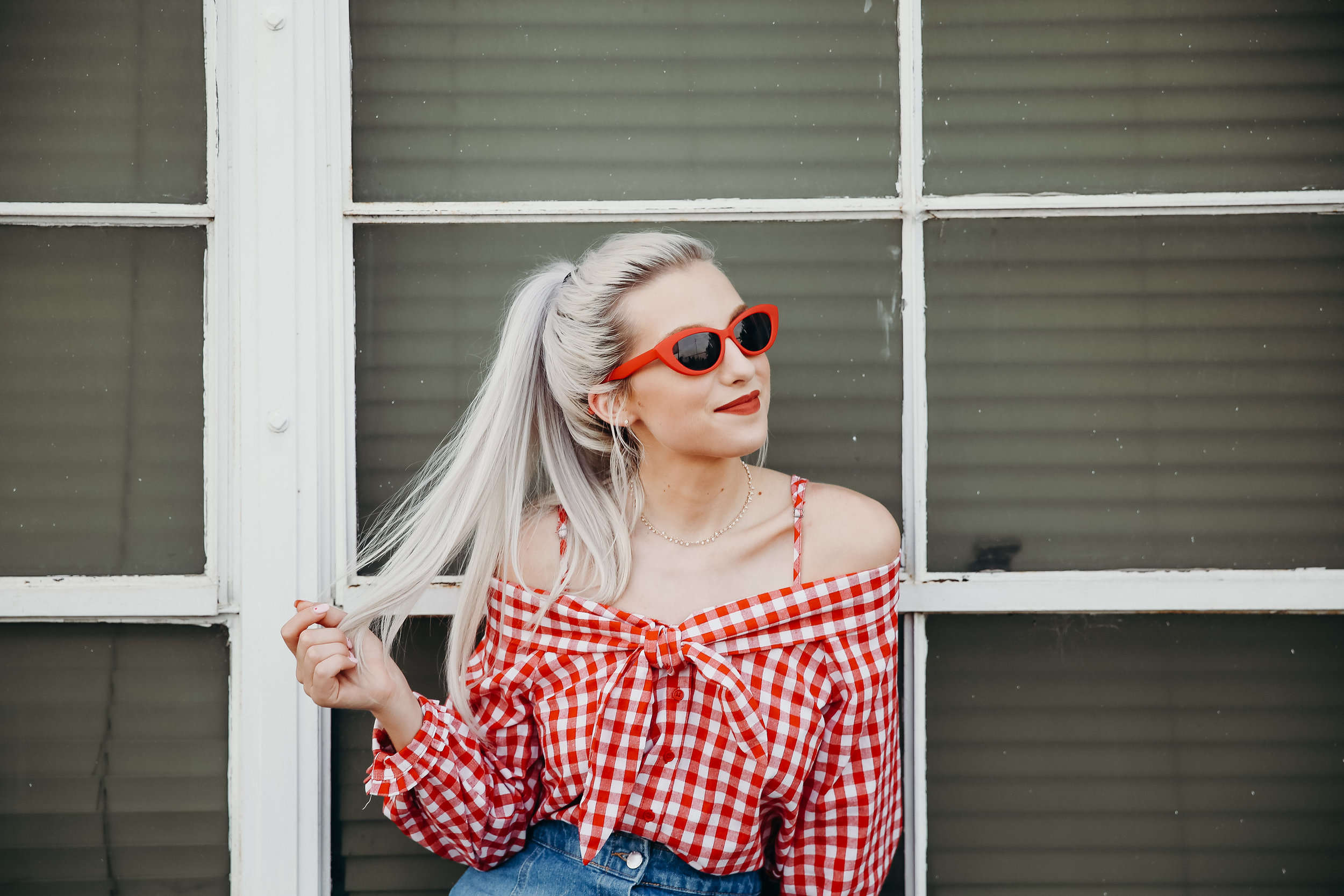 How gorgeous is this red gingham top from Hope Ave.?! It's off the shoulder which I normally shy away from, but the cheeky little straps made it so much more comfortable!