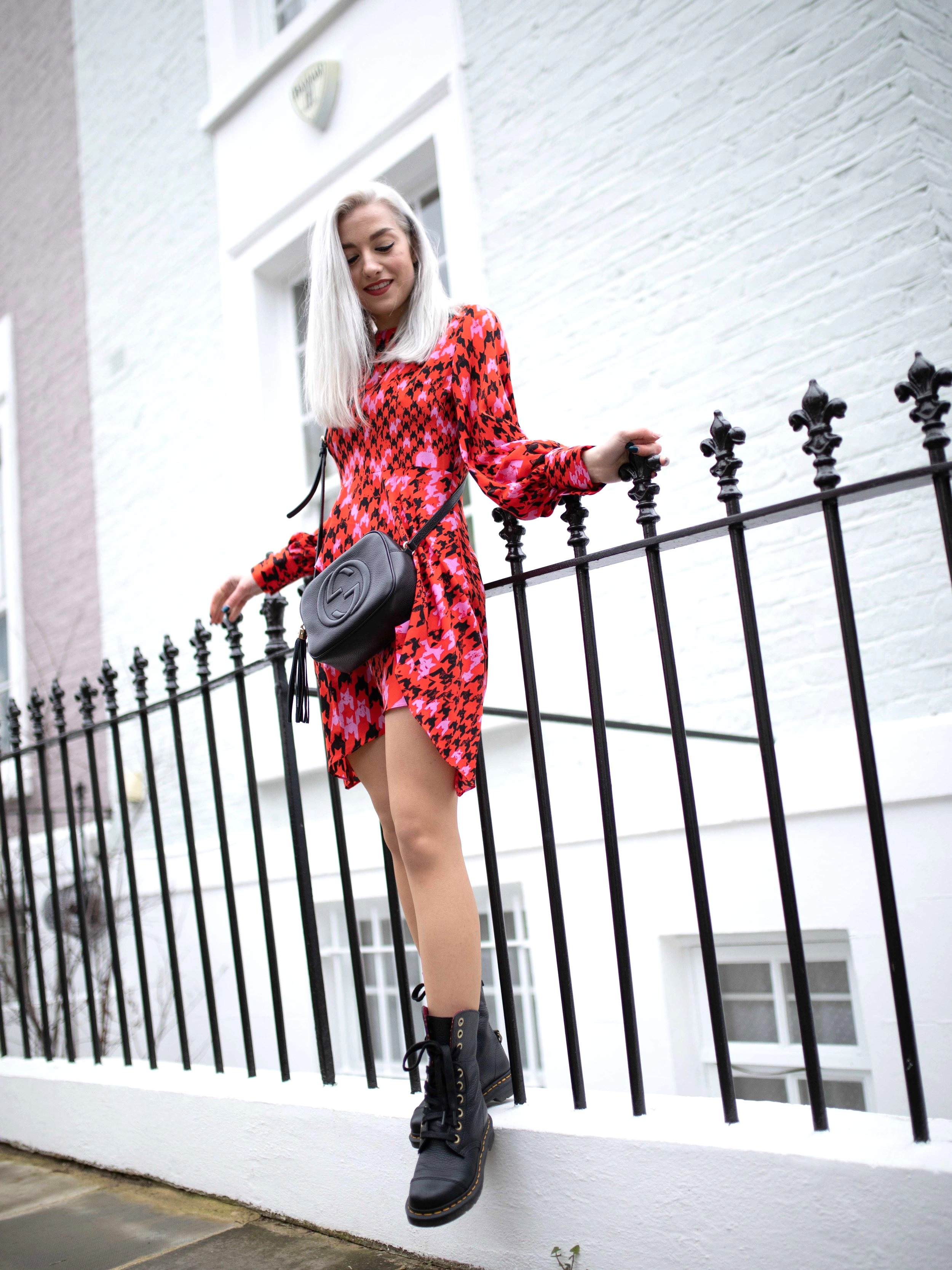 Outfit Details: Dress: Topshop, Boots: Dr. Martins, Bag: Gucci, Necklace: Urban Outfitters