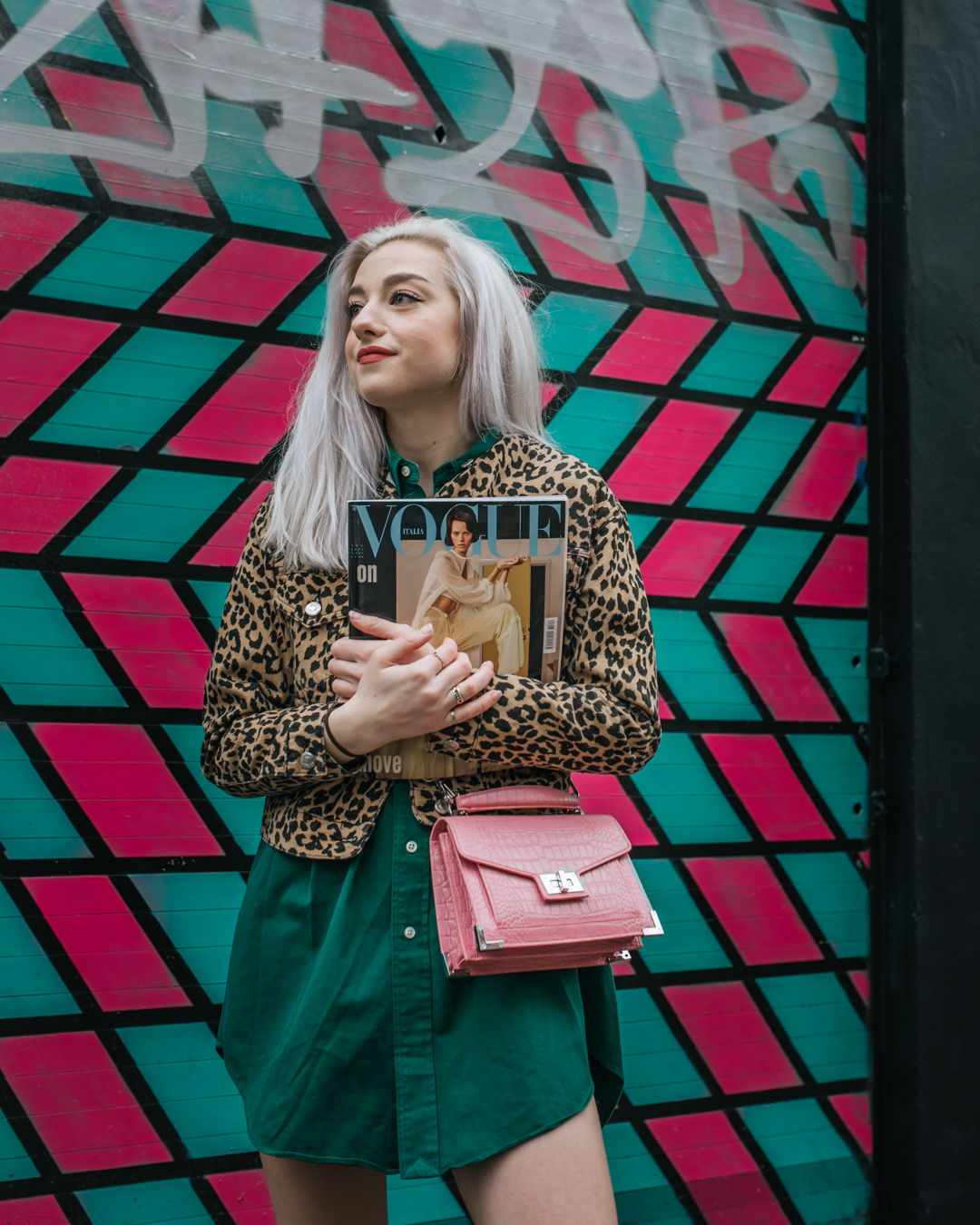 Outfit Details: Dress: Thrifted, Jacket: Topshop, Bag: The Kooples, Shoes: Bershka, Rings: Topshop