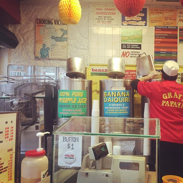 Our W47 Automatic Juicer at the famous Gray's Papaya on the Upper West Side. #automaticjuicer #madeinnyc #madeinusa #stainlesssteel #juiceplus #juicer #orangejuicer #orangejuice #oranges #vegetablejuice #freshlysqueezed #greenjuices #juicecleanse #juicing #juicebar #greenjuice #healthy #automaticjuicers #juicers #cleaneats #vegan #vegetarian #juice #oj