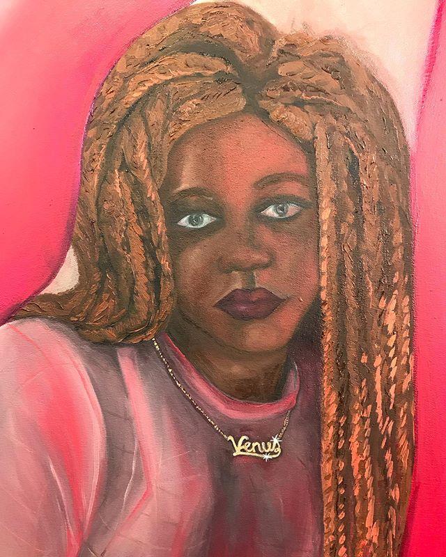 one more detail shot 💫 @venussoleil is one of my favorite people to paint. . . . . . #figurepainting #queerartist #artstudio #artspace #artseries #artistprocess #sfart #sfartist #contemporaryart #contemporaryartist #sanfranciscoart #oilpainting #dragqueen
