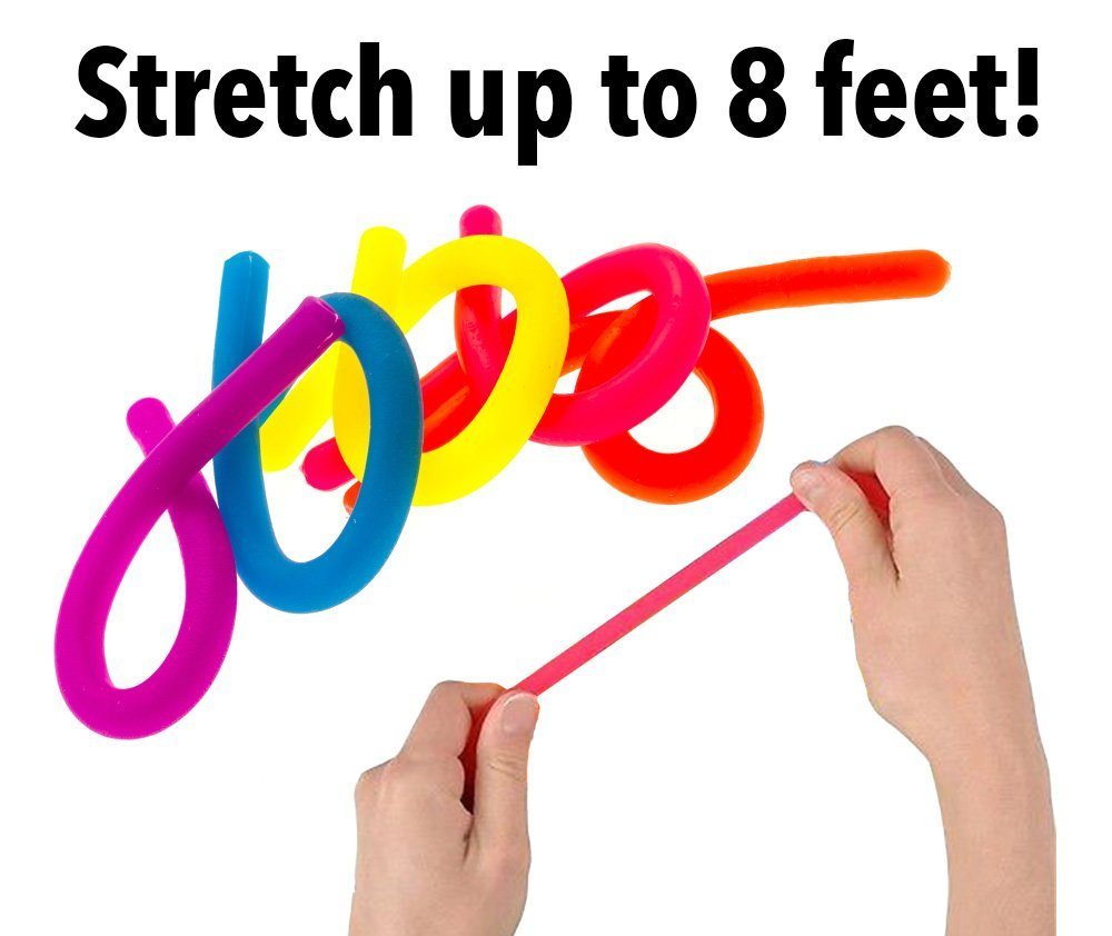Stretchy Strings Glitter Calming Stretchy Noodles Fidget Toy for Relaxing Therapy Relief Stress Toy 8 Pack Gexond Colorful Sensory Fidget Stretch String Toys