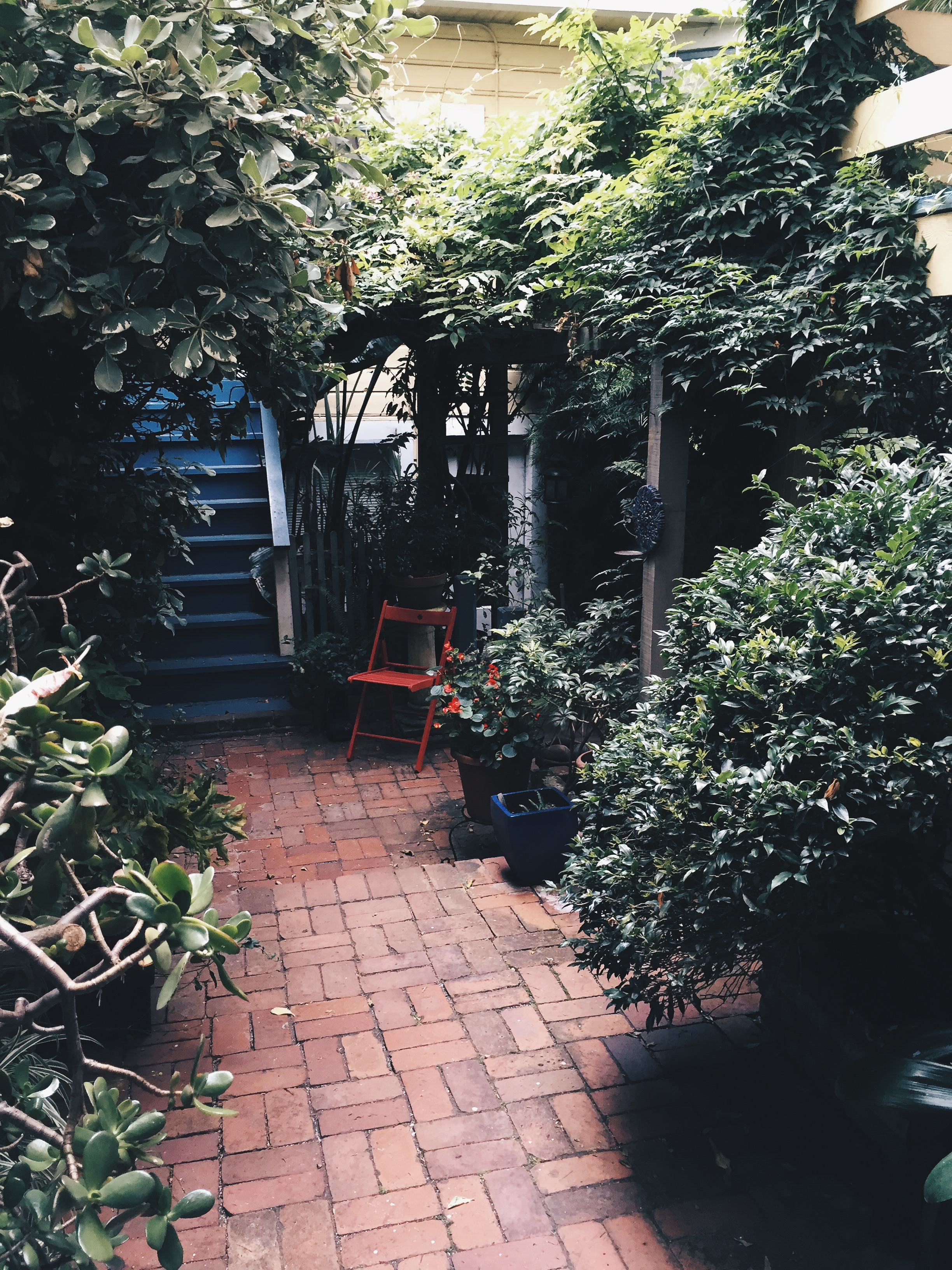 Then outside we have a shared garden with or neighbors.