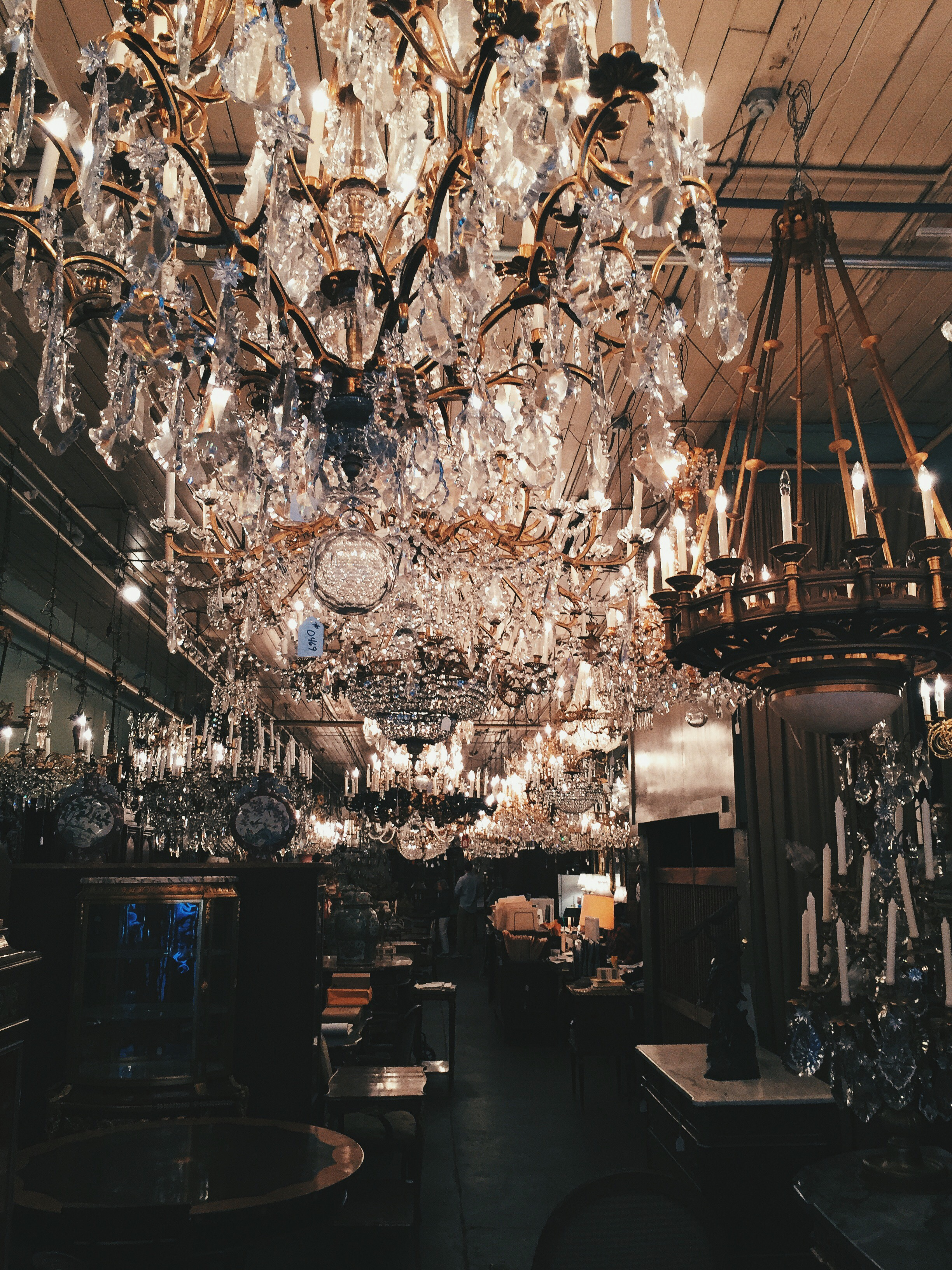 I found an old French Antique chandelier shop.