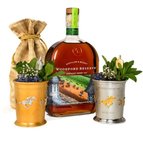 This year's $1,000 Mint Julep Cups from Woodford Reserve will benefit the Kentucky Derby Museum. Woodford Reserve will make available 90 cups made of sterling silver with gold accents. Another 15 gold cups with silver accents will also be made available for $2,500 each. (Photo courtesy: Woodford Reserve)