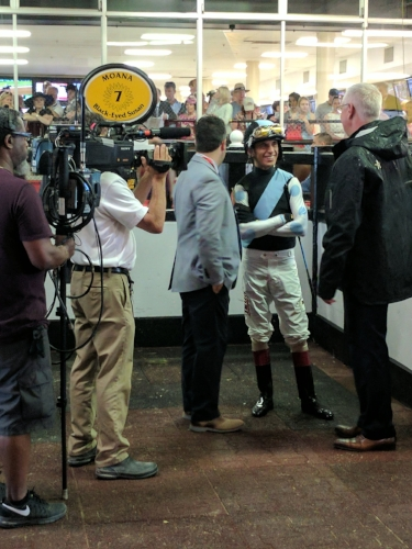 Trainer Todd Pletcher and jockey John Velazquez meet before saddling Moana in the Black Eyed Susan Stakes at Pimlico Race Course.