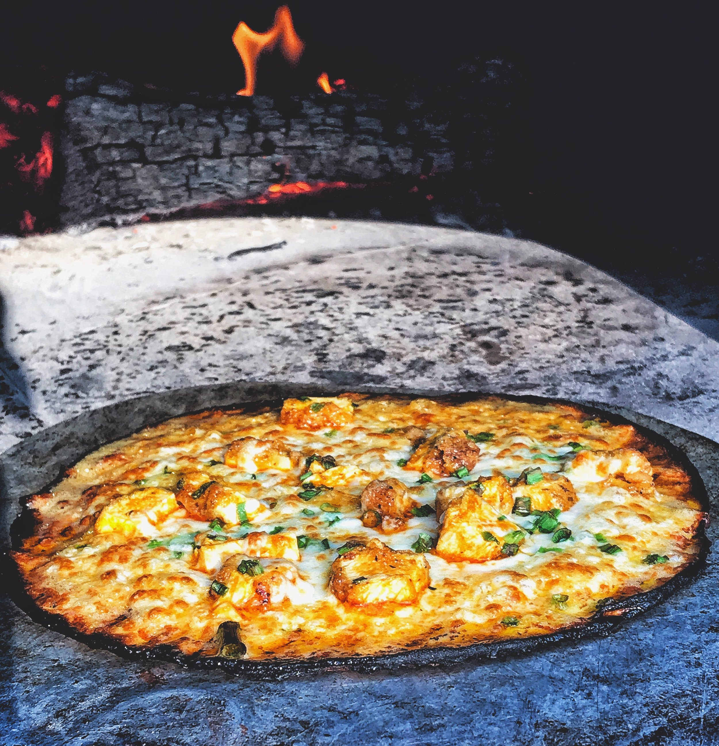Our Famous Wood Fired Buffalo Chicken Pizza