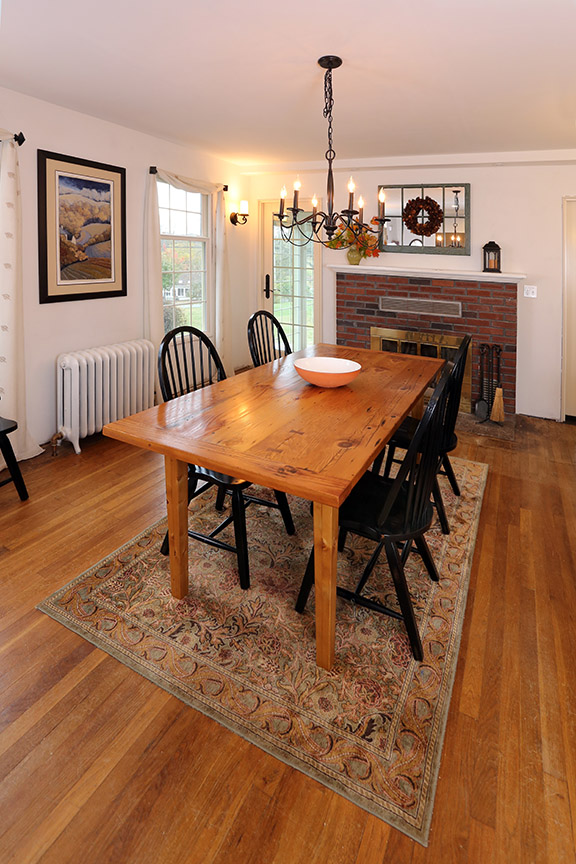 """Measuring approximately 38"""" across and 78"""" long, the table seats 6 comfortably."""