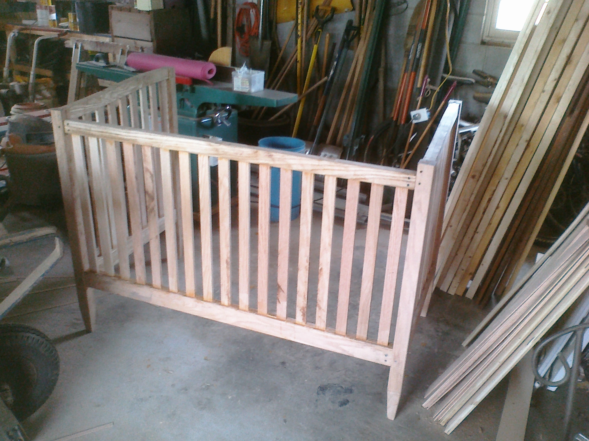 When I found out my niece was on the way, I wanted to make a crib for her. My brother-in-law and his wife showed me a design they liked, and I replicated it in red oak.
