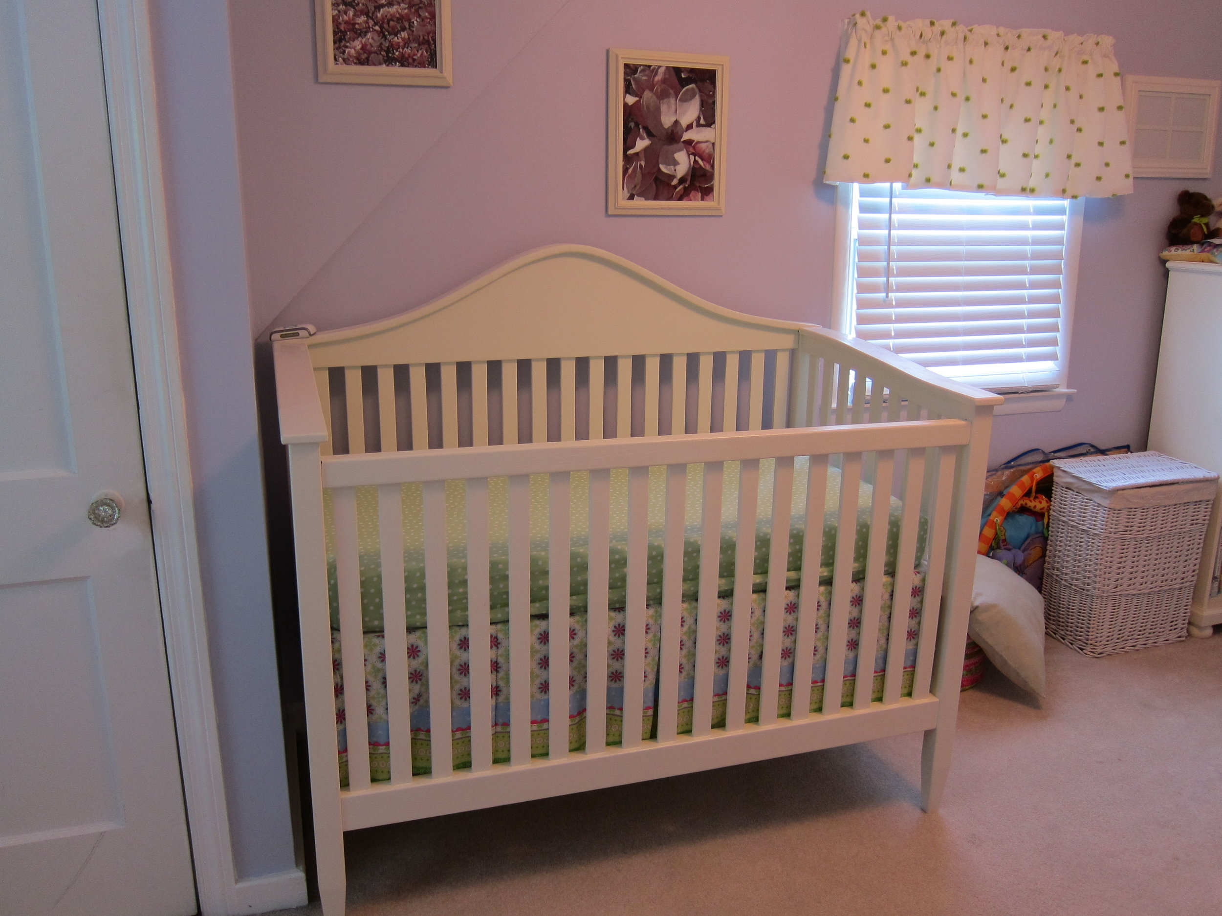The finished crib delivered to her nursery
