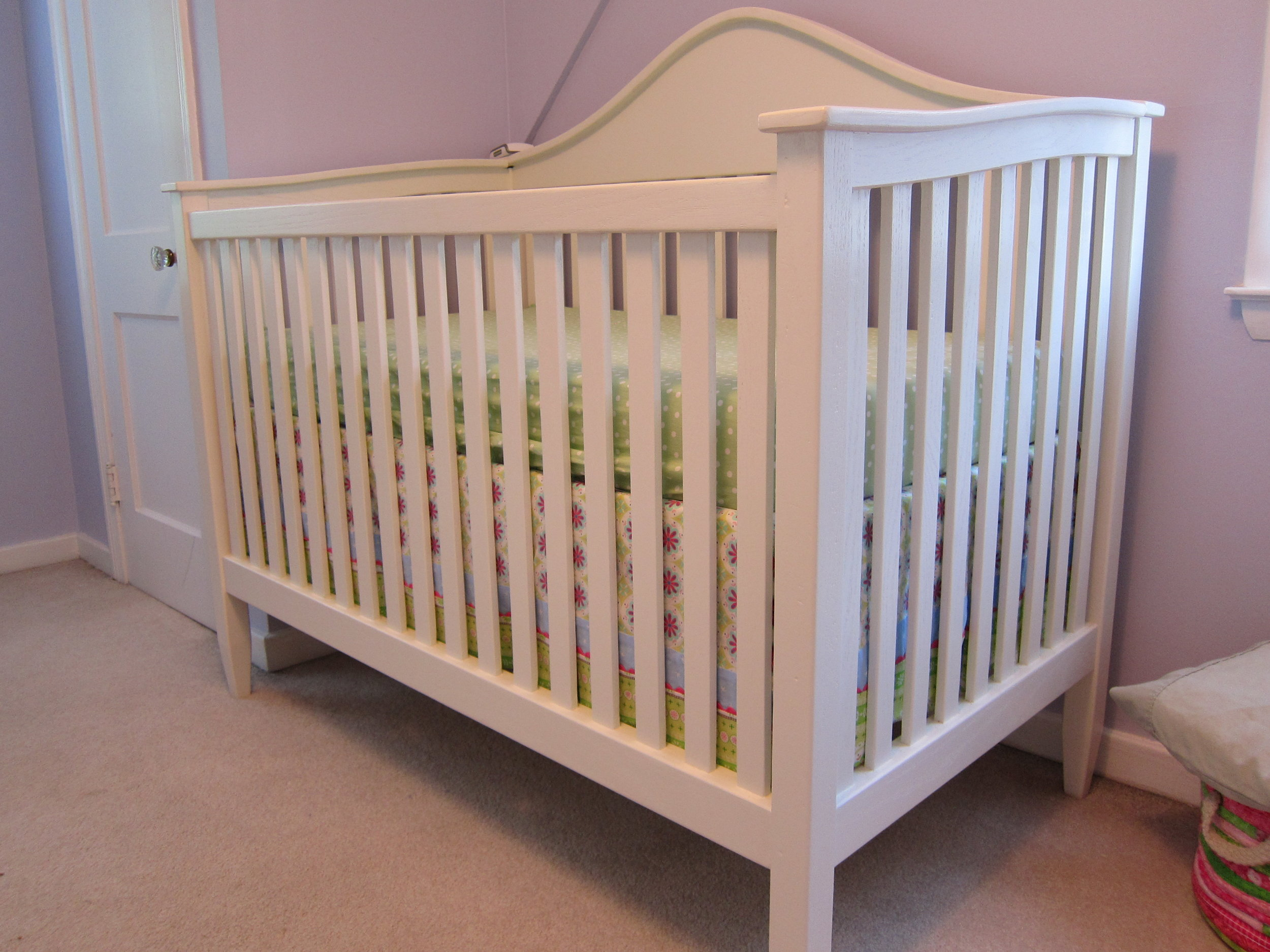Closer shot of the finished crib. Since she grew out of it, it's been used by her two younger siblings.