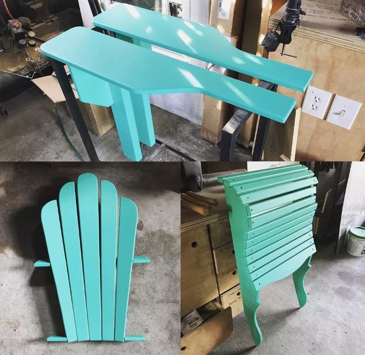 I assemble the chair in four sections - two arms, one back, and one base - in jigs I made up specifically for that task. Here, the four sections are assembled and painted the final color.