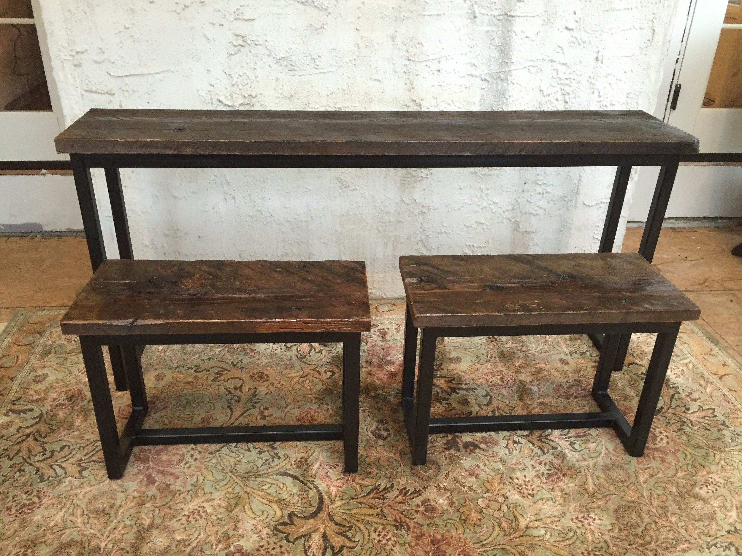 A client was brought to me who had a number of old barn beams on their property. They wanted to make a simple sofa table with some nesting benches. JGM, Inc provided the bases for the benches and table.The barn wood was very rough initially, and it was delicate work to find a balance that made it pleasant to the touch without removing the patina of age the wood had acquired over the years.