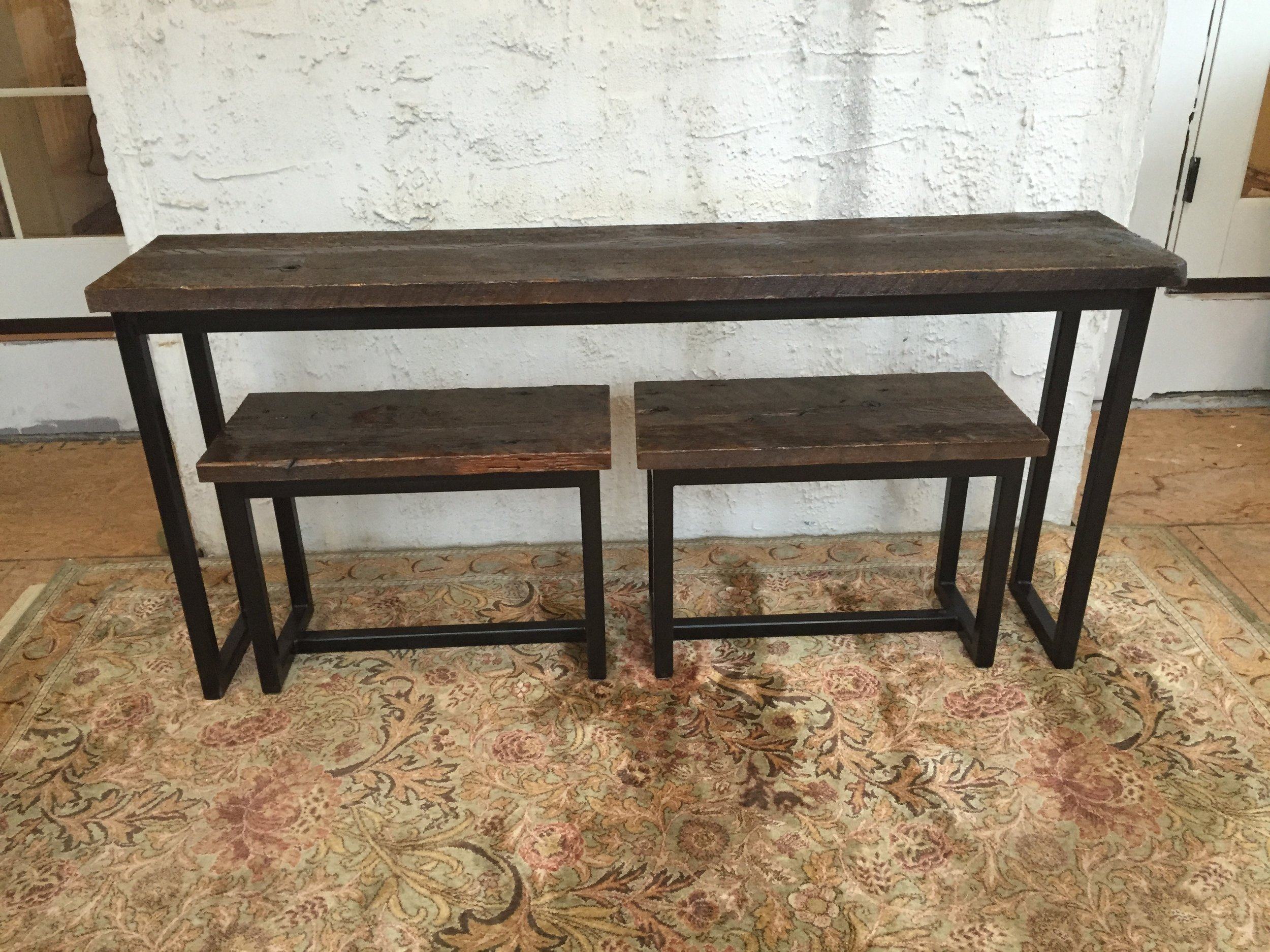 The benches store neatly underneath the table when not in use. Small furniture pads hidden under the feet ensure they are easy to move around.