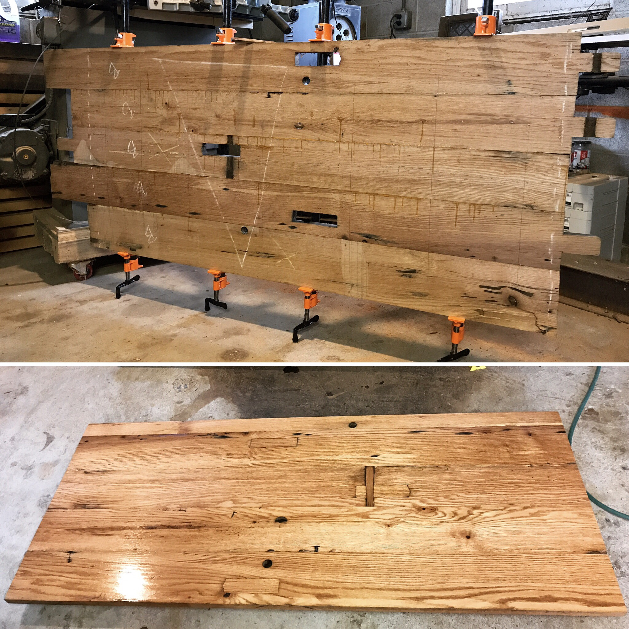 This is a before and after of one of the panels glued and clamped, and then after it was sanded and finished with varnish.