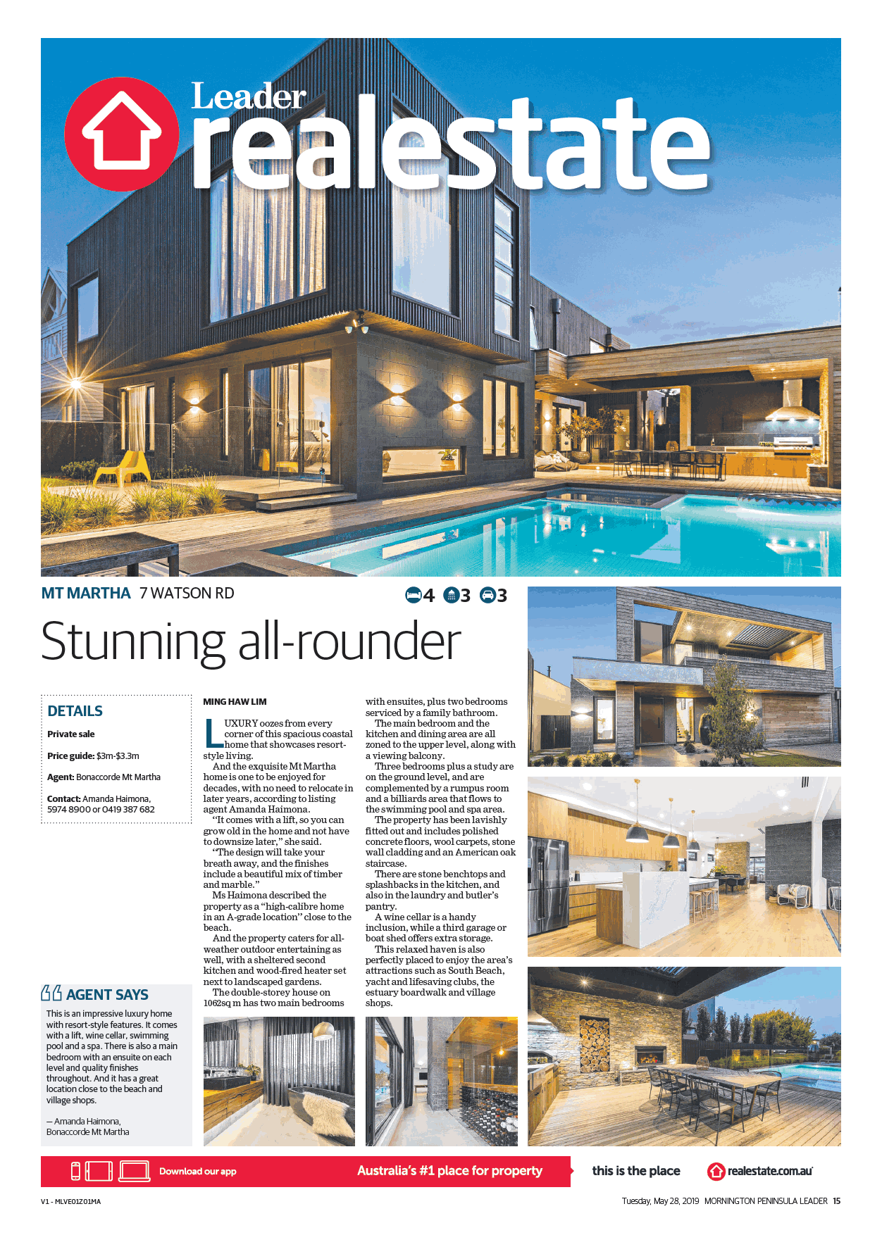 MORNINGTON PENINSULA LEADER - FRONT COVER OF REALESTATE.COM