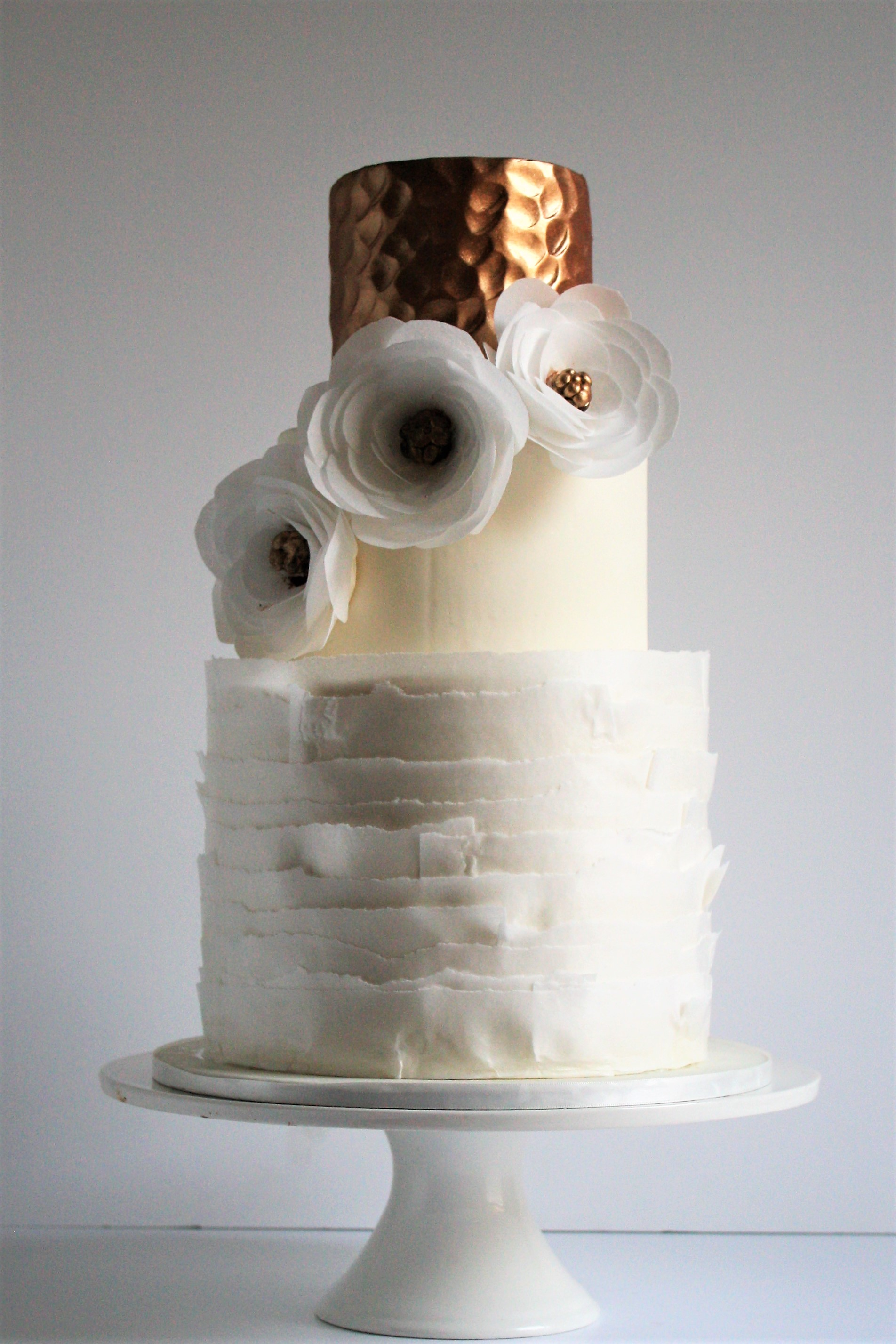 Hammered Copper and Wafer paper ruffle wedding cake with wafer paper flowers