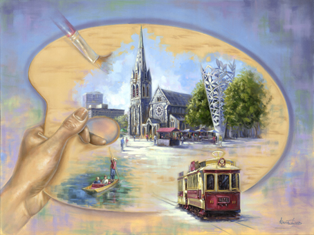 Christchurch on the Artist Palette - by Livia Dias