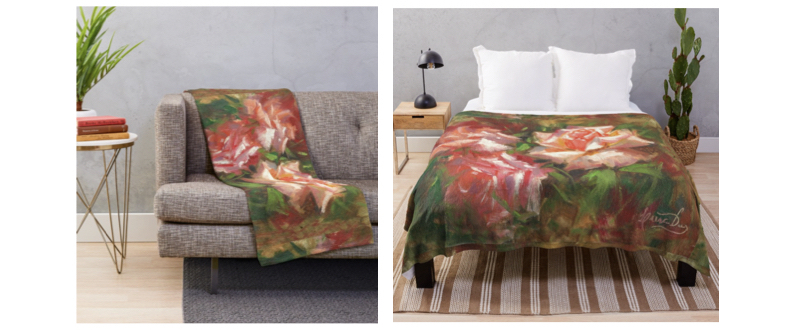 Roses Painting-THROW BLANKETS-by-livia-dias