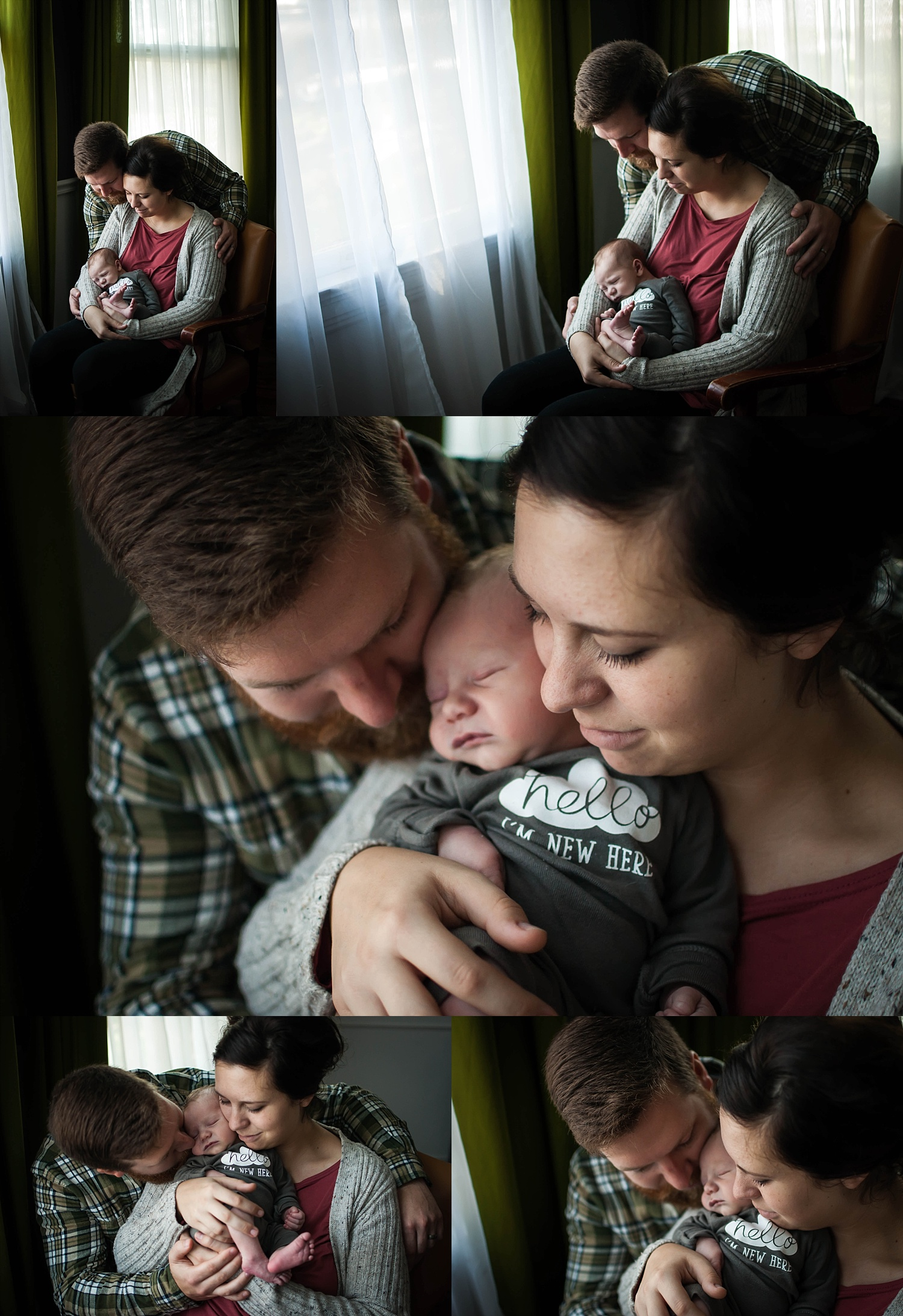 Mother and father snuggle around newborn to pose for a newborn lifestyle session with Photographs by Brittney Hogue.
