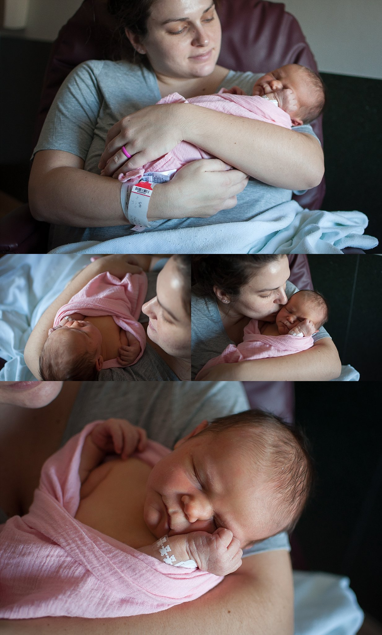 New mother Sara holds her newborn baby girl for a Fresh 48 session at Pekin Memorial Hospital in Pekin, IL.